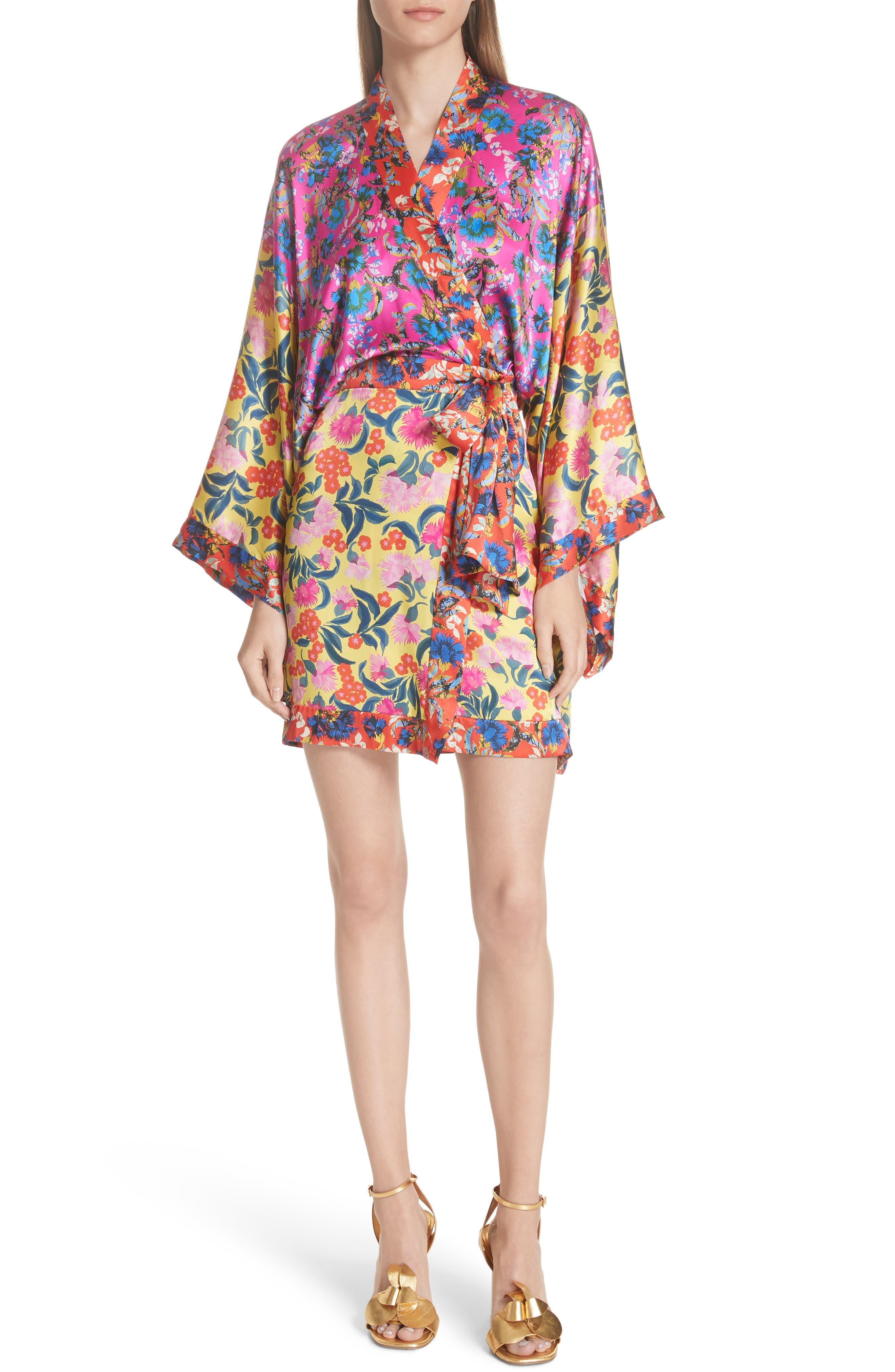 Suki Mixed Floral Silk Wrap Dress,                         Main,                         color, YELLOW AZALEA