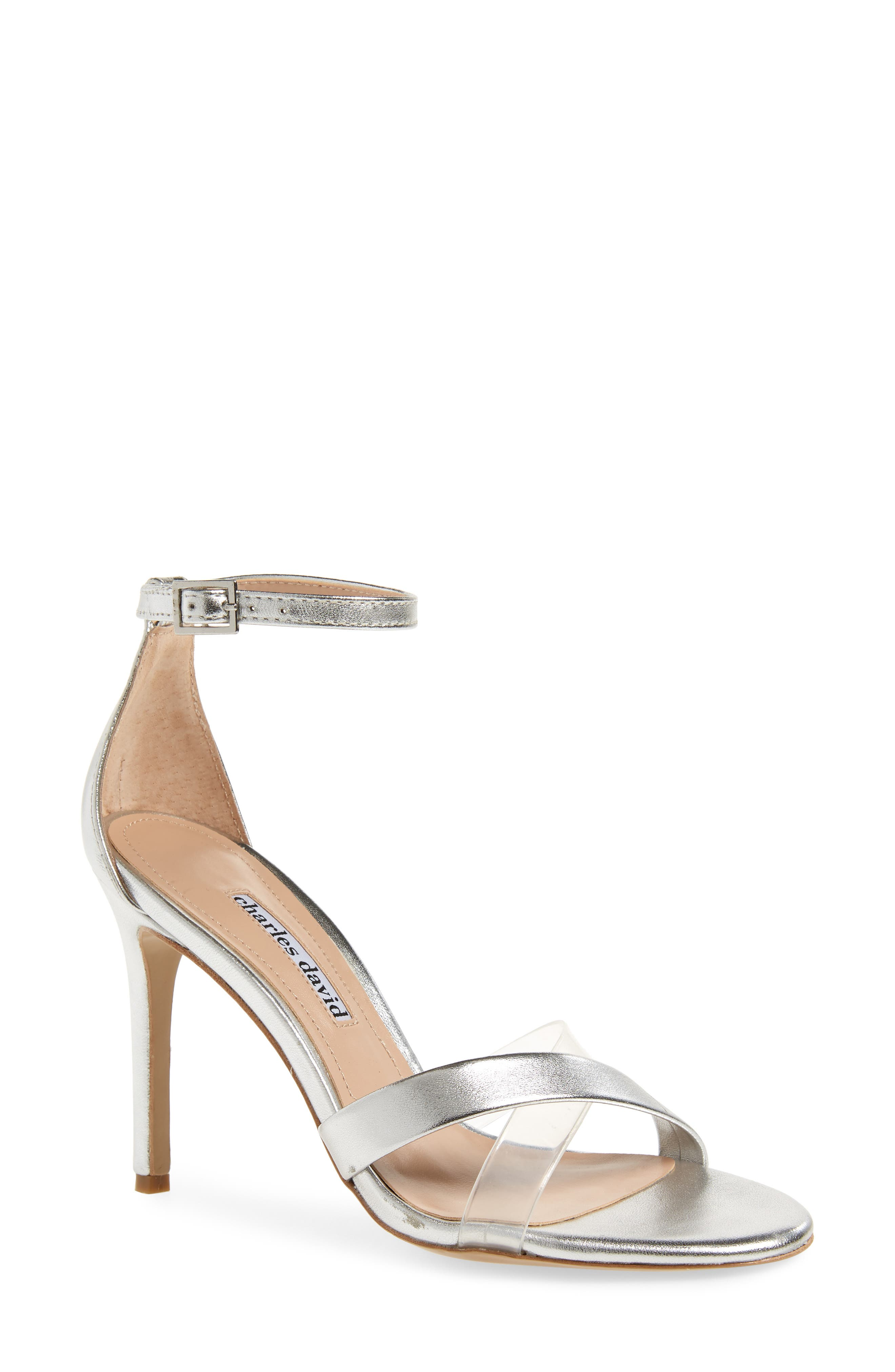 CHARLES DAVID Women'S Courtney Translucent High-Heel Sandals in Silver/ Clear Leather