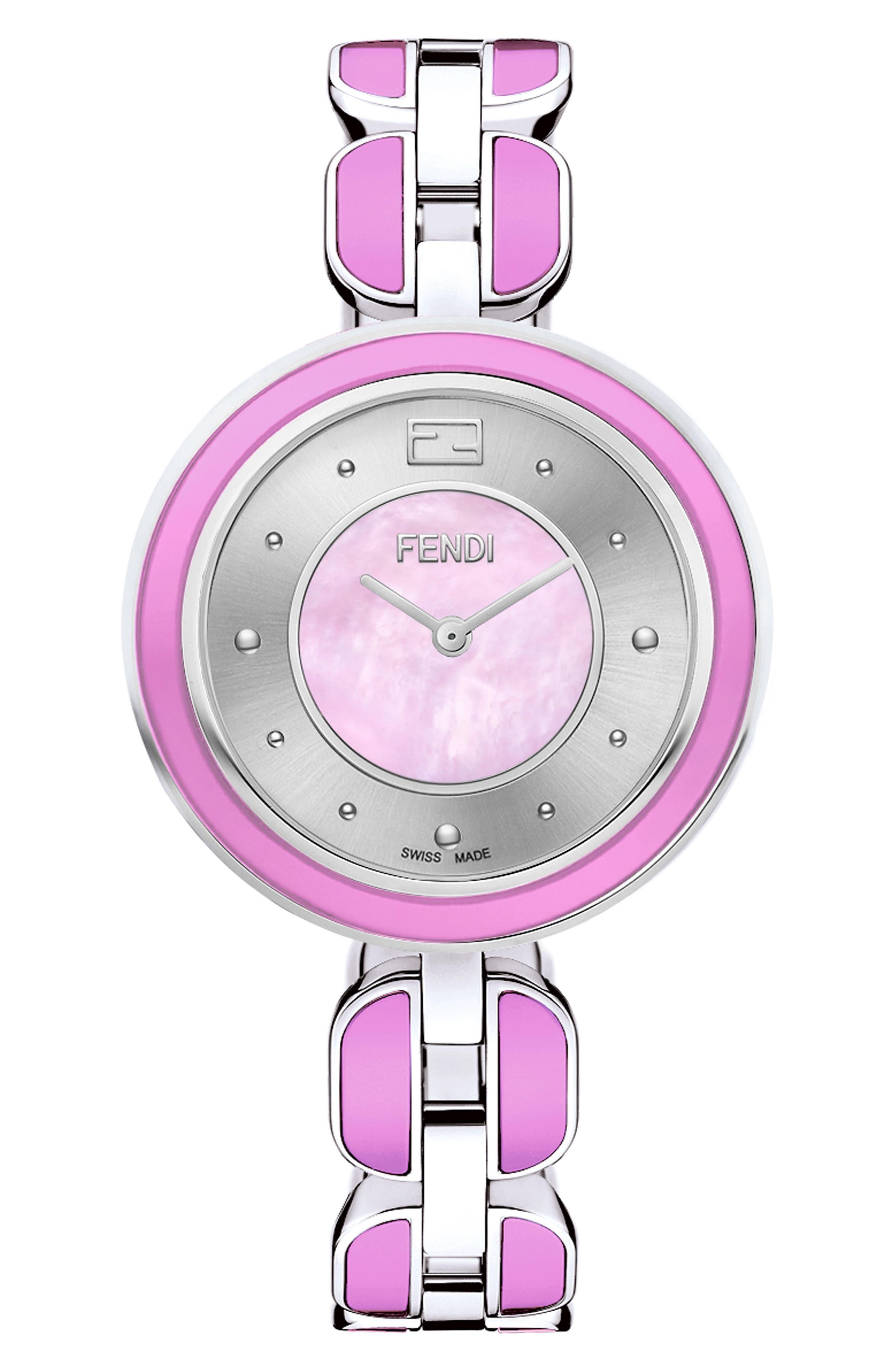 My Way Genuine Fox Fur Bracelet Watch, 36mm,                             Main thumbnail 1, color,                             PINK/ MOP/ SILVER