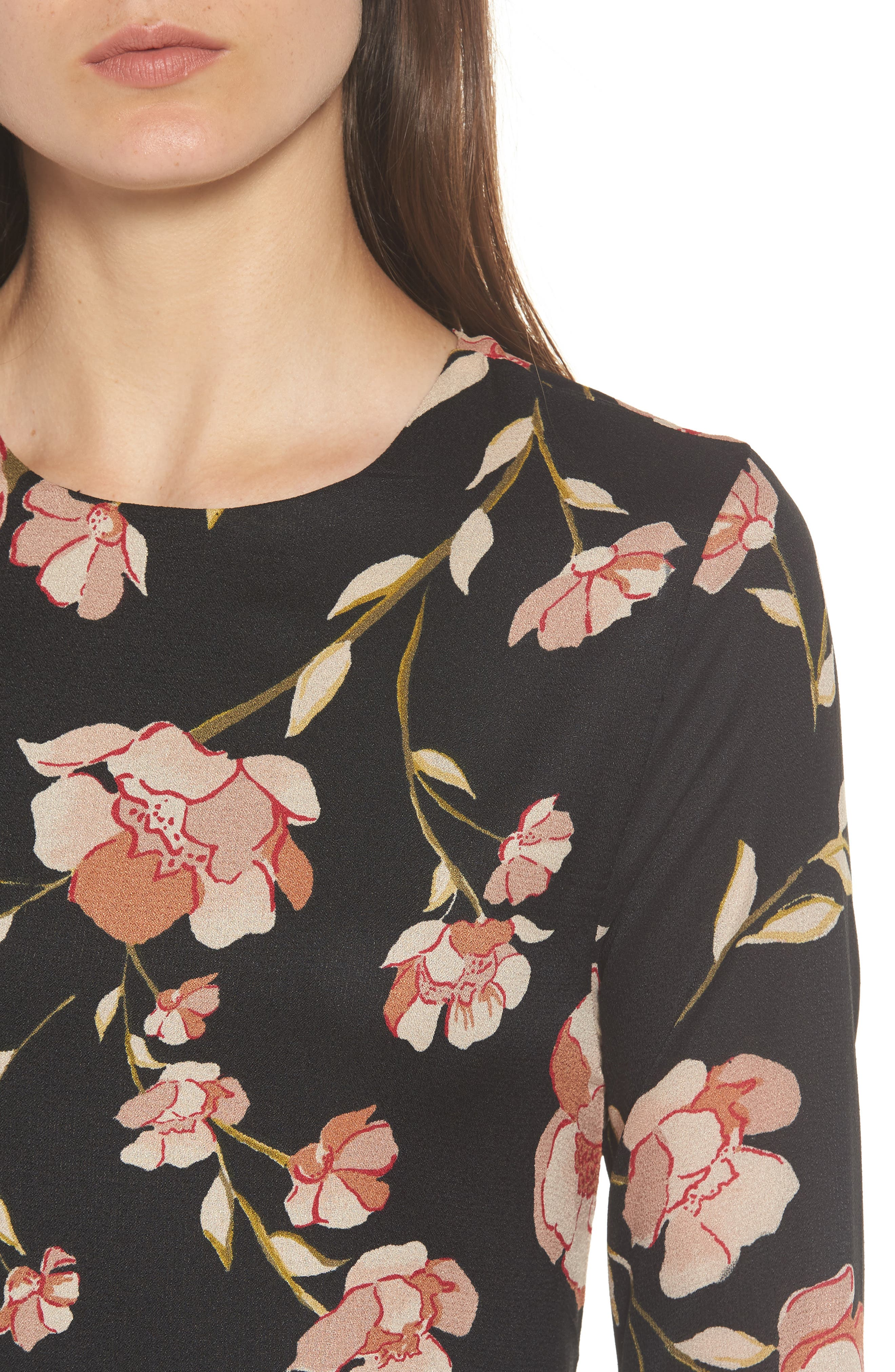 Floral Print Maxi Dress,                             Alternate thumbnail 4, color,                             001