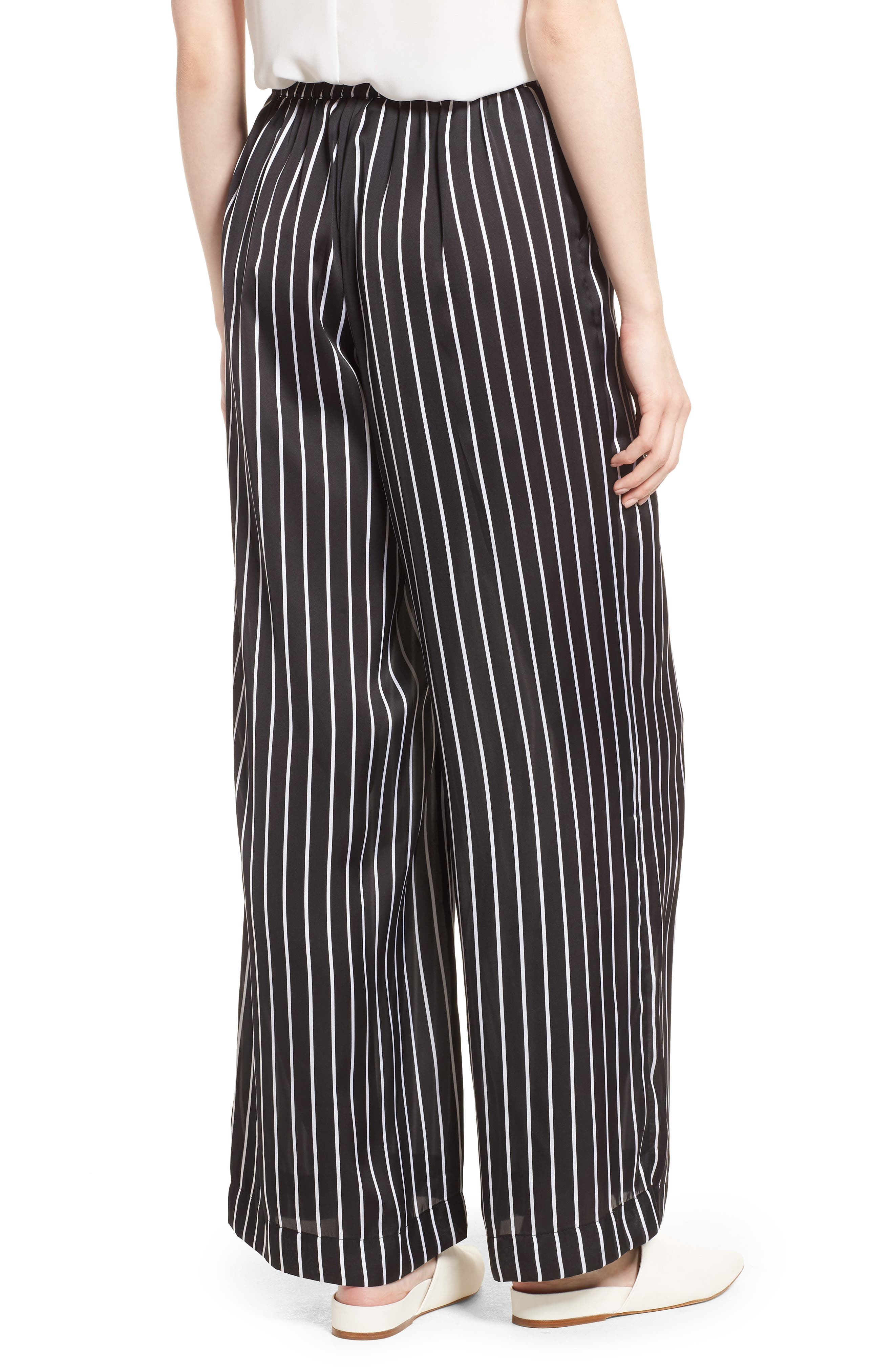 Kenneth Cole Wide Leg Pants,                             Alternate thumbnail 2, color,                             STREET STRIPE BLACK