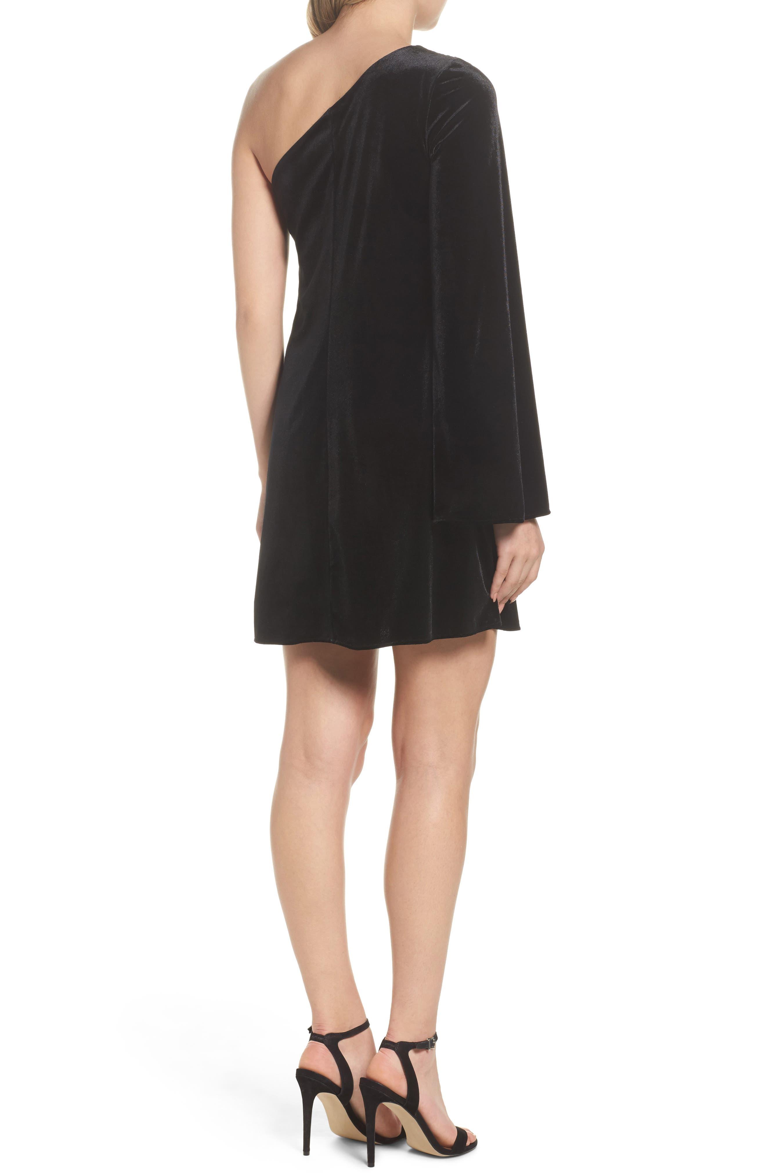 Aurore One-Shoulder Velvet Dress,                             Alternate thumbnail 2, color,                             001