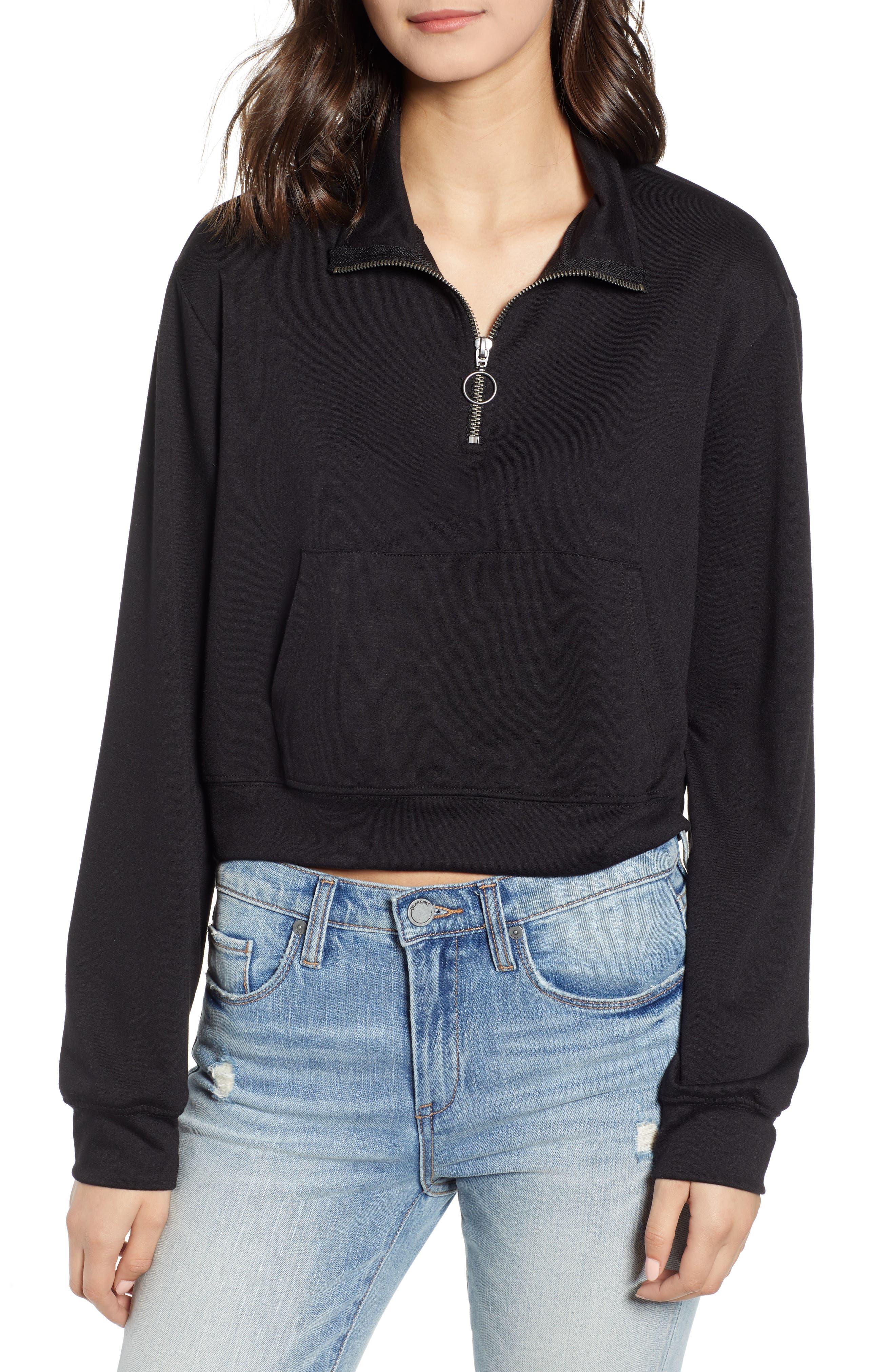 Ten Sixty Sherman Crop Half Zip Pullover, Black