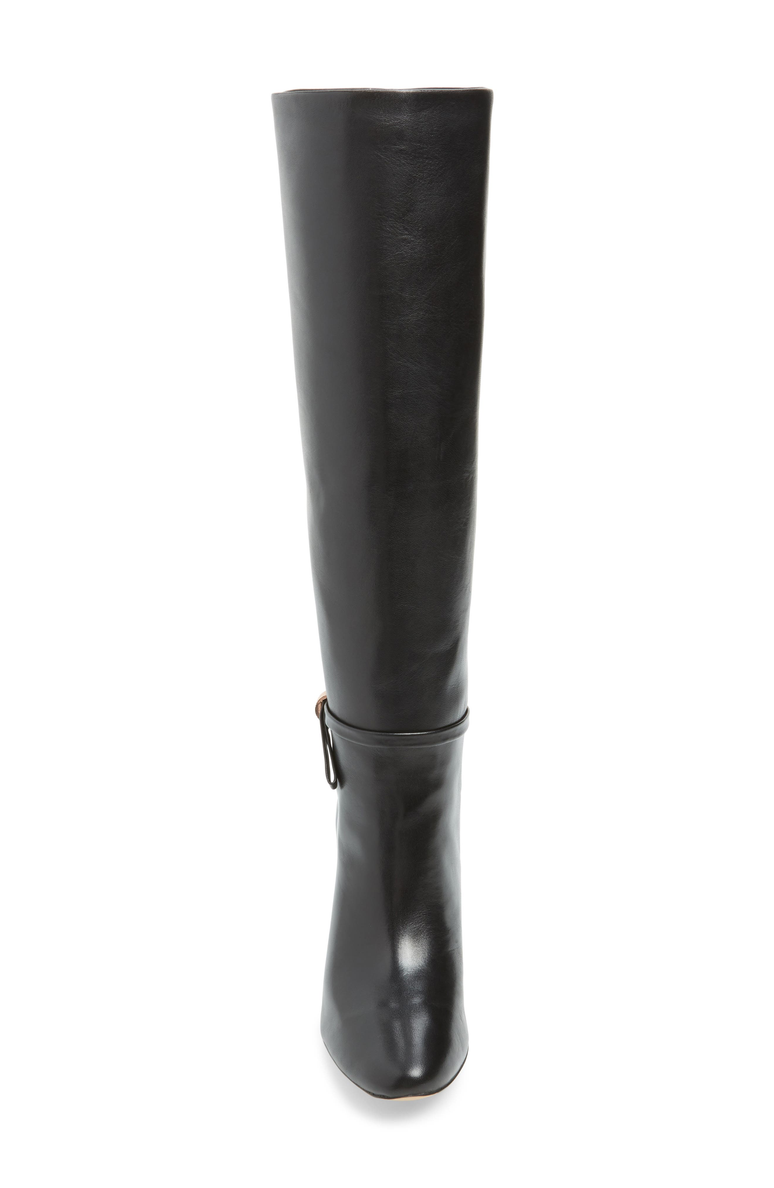 Linaey Knee High Boot,                             Alternate thumbnail 4, color,                             BLACK LEATHER