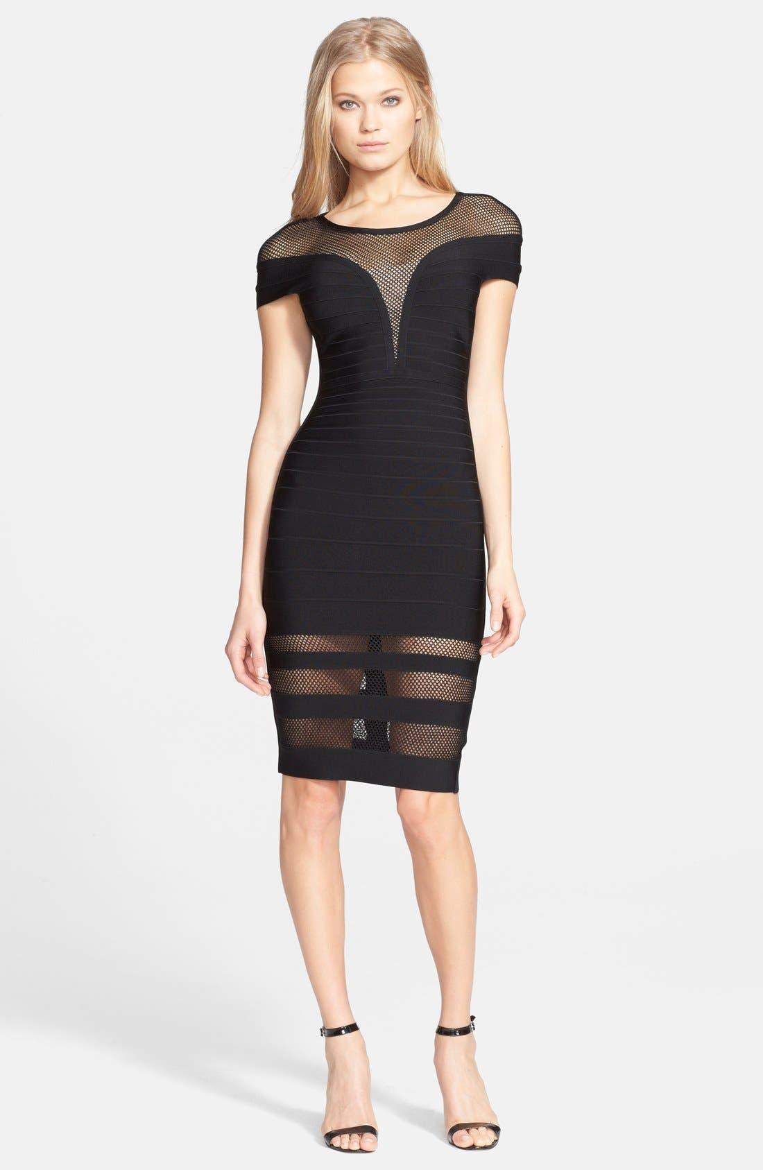 'Katrina' Mesh Inset Body-Con Bandage Dress, Main, color, 001