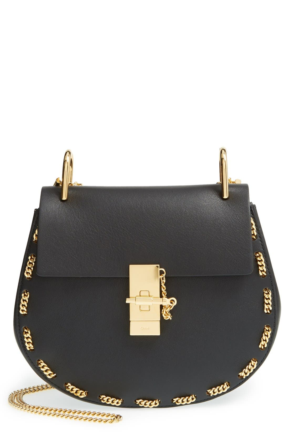 'Small Drew' Leather & Chain Link Crossbody Bag, Main, color, 001