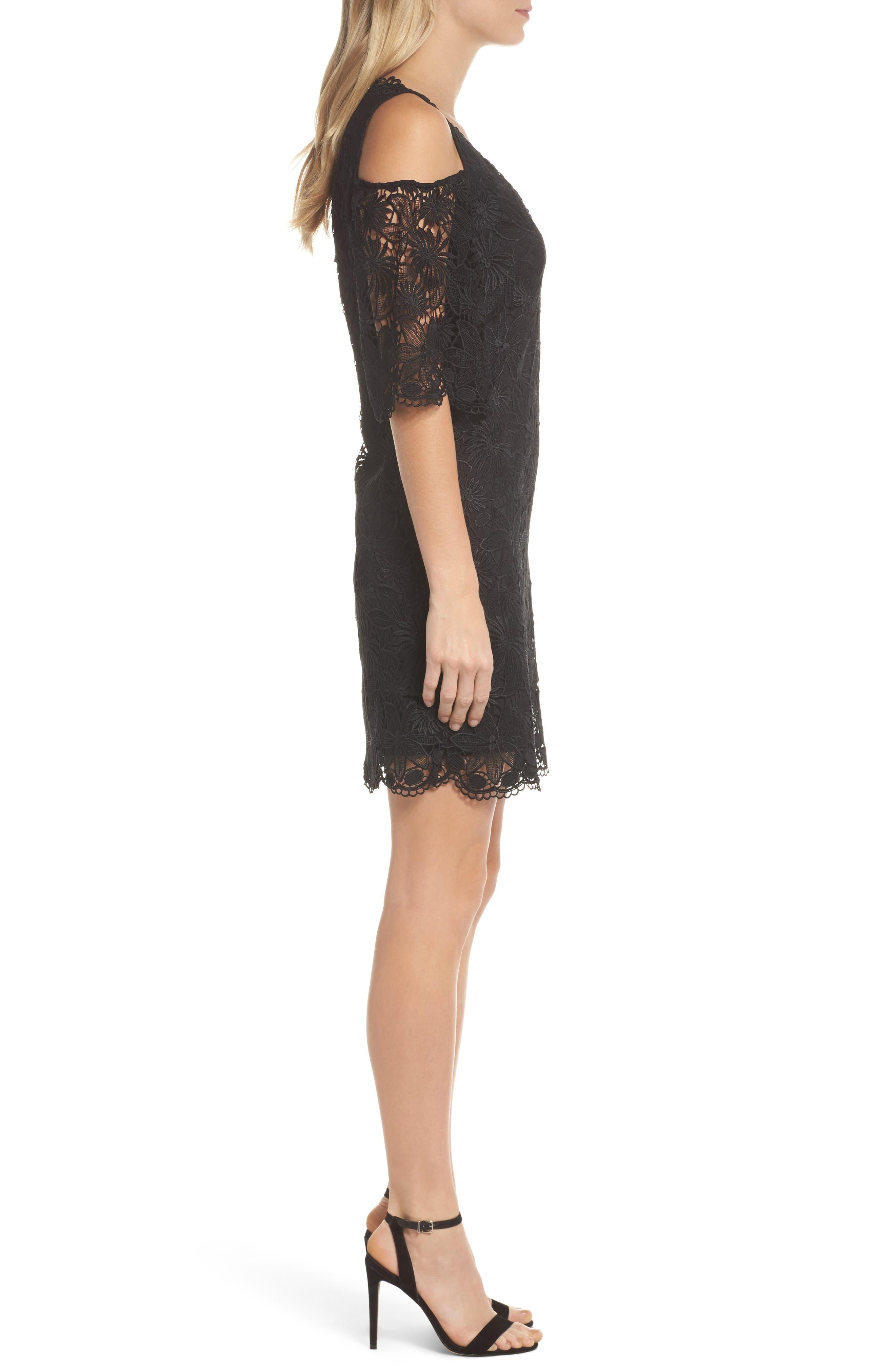 Edna Cold Shoulder Lace Dress,                             Alternate thumbnail 3, color,                             001