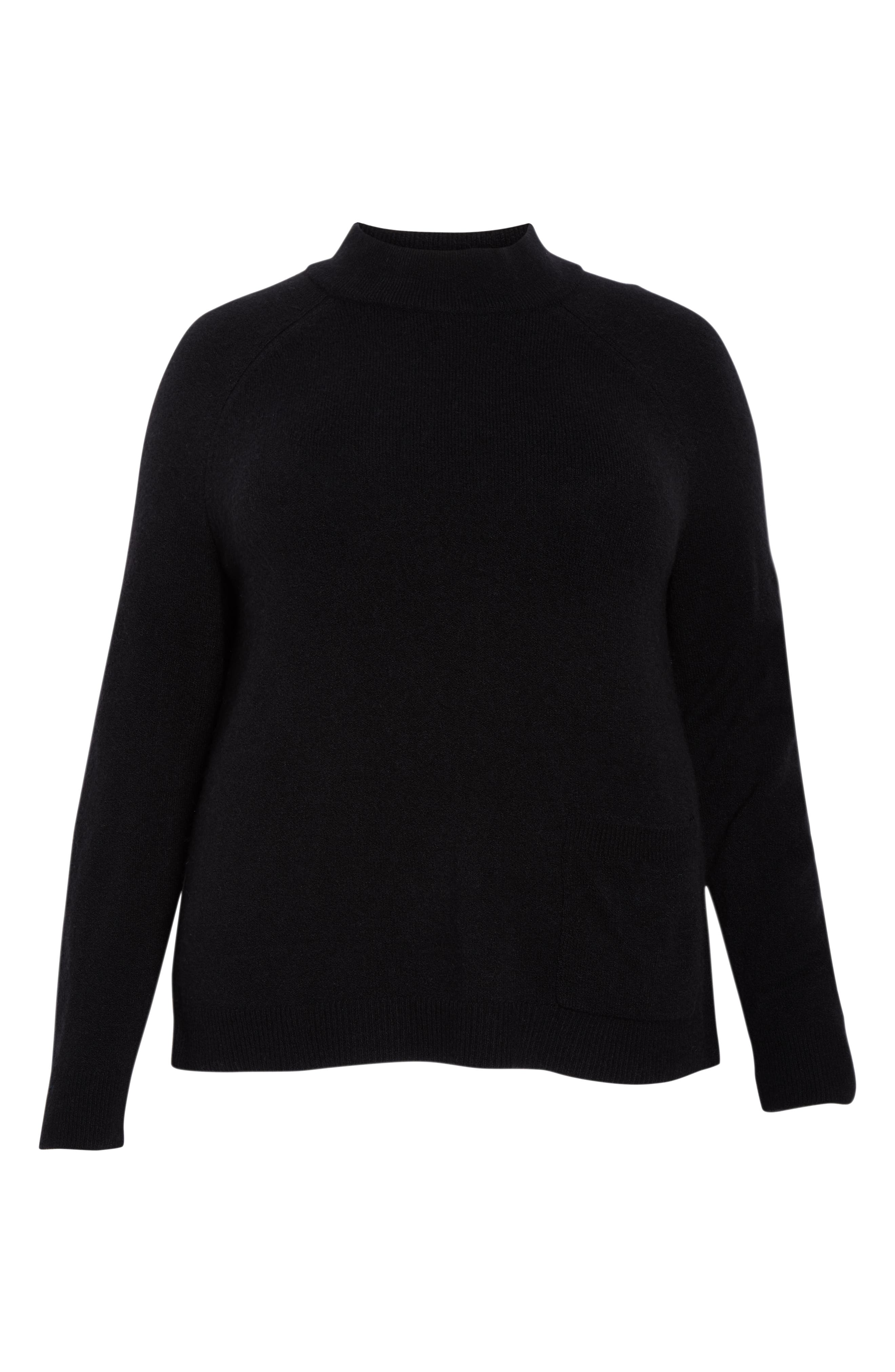 Pocket Front Sweater,                             Alternate thumbnail 6, color,                             BLACK