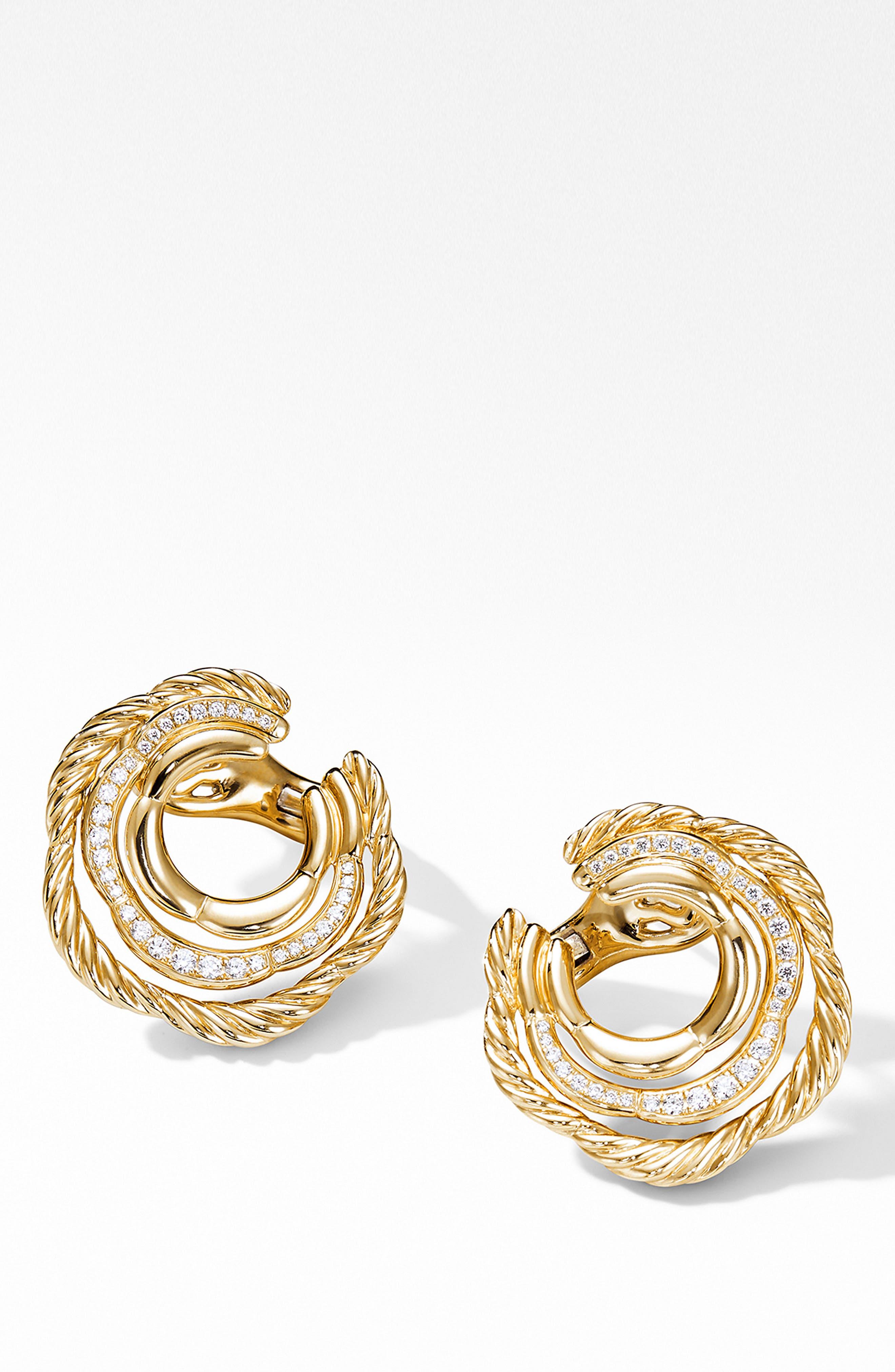 Tides Huggie Hoop Earrings with Pavé Diamonds,                             Alternate thumbnail 2, color,                             GOLD/ DIAMOND