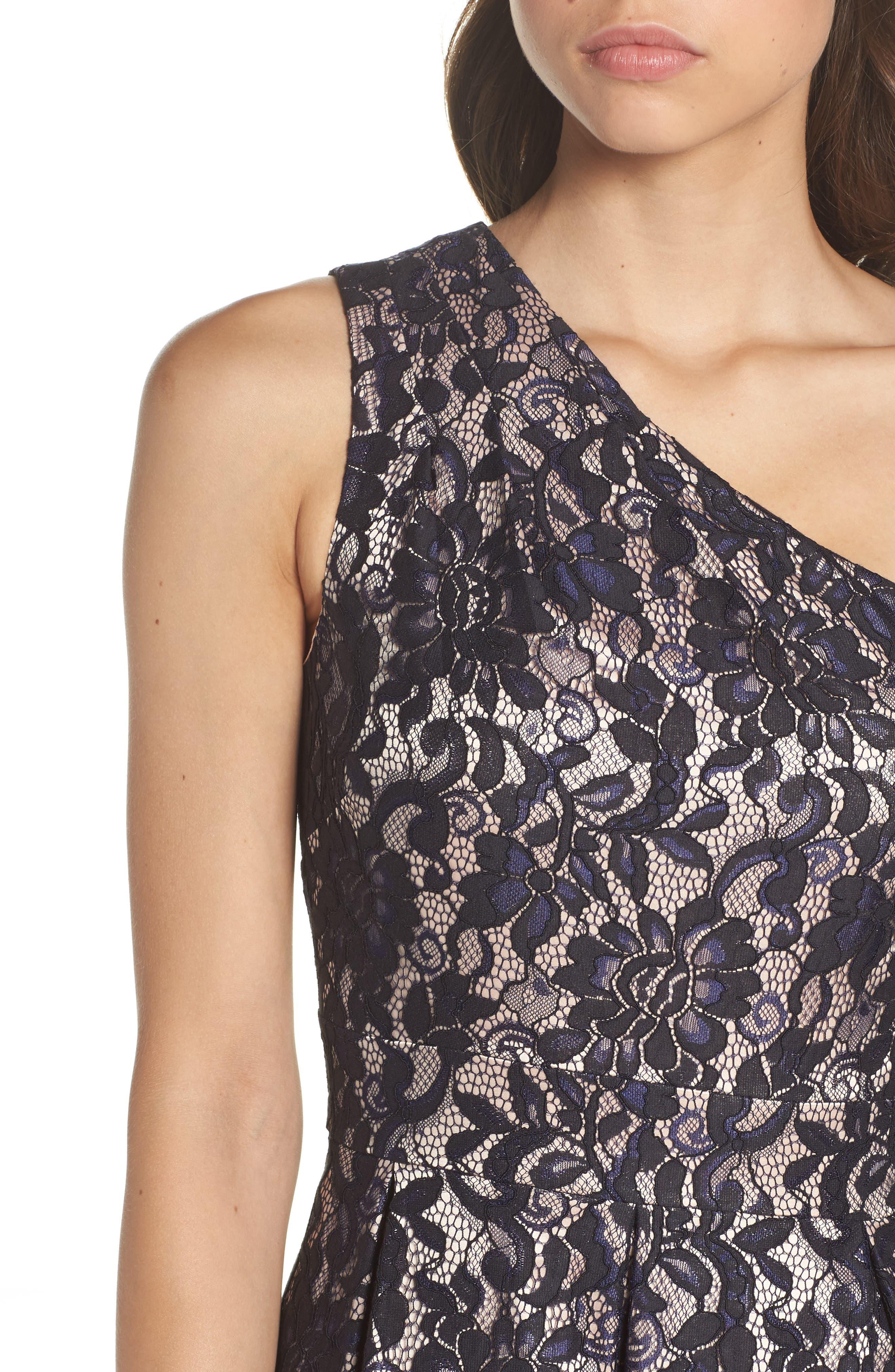 One-Shoulder Lace Dress,                             Alternate thumbnail 4, color,                             410