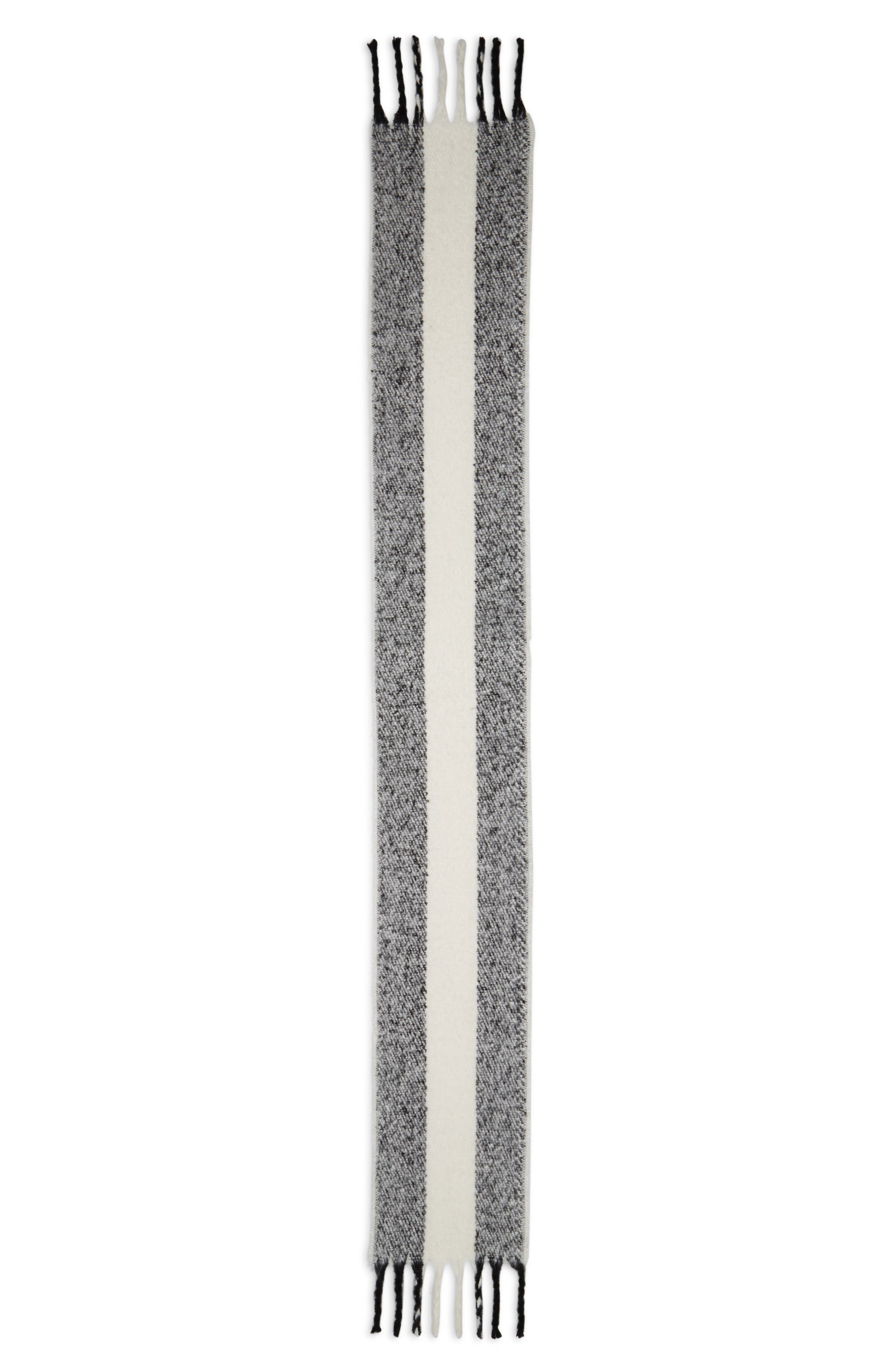 TOPSHOP,                             Heavy Humbug Stripe Scarf,                             Alternate thumbnail 3, color,                             002