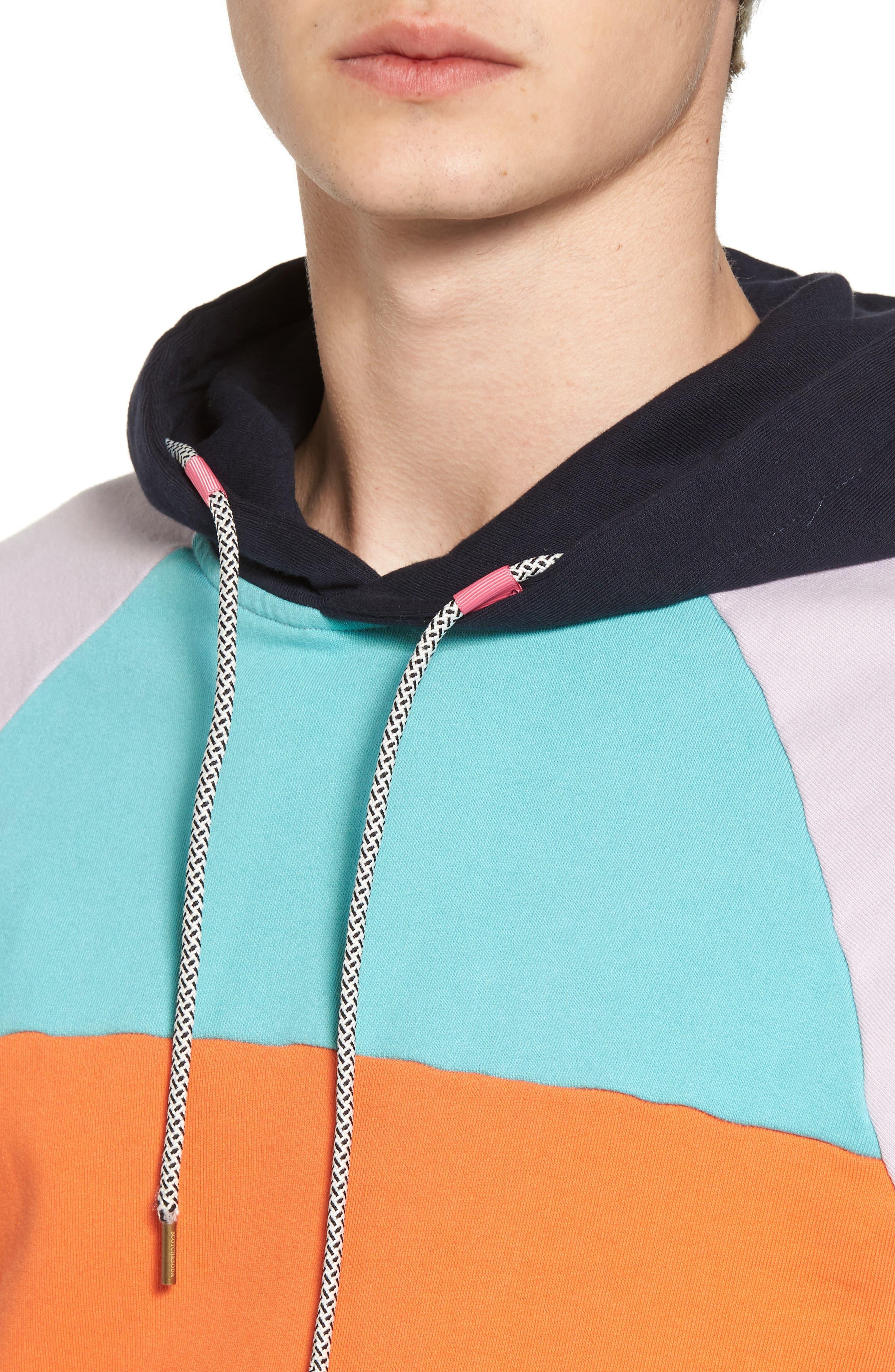 Summer Colorblock Hoodie Sweatshirt,                             Alternate thumbnail 4, color,                             100