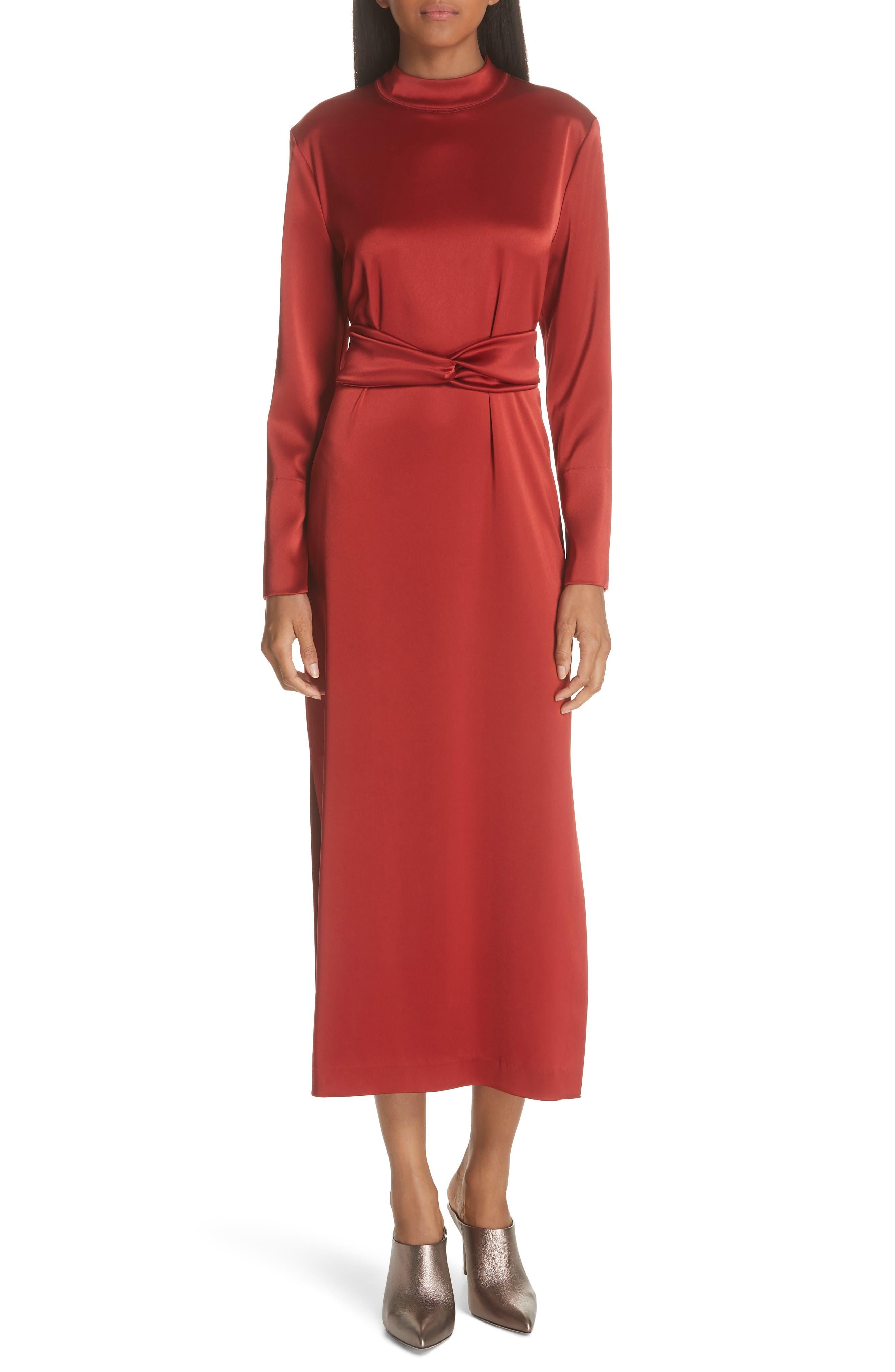 Sadie Belted Satin Dress,                         Main,                         color, 640