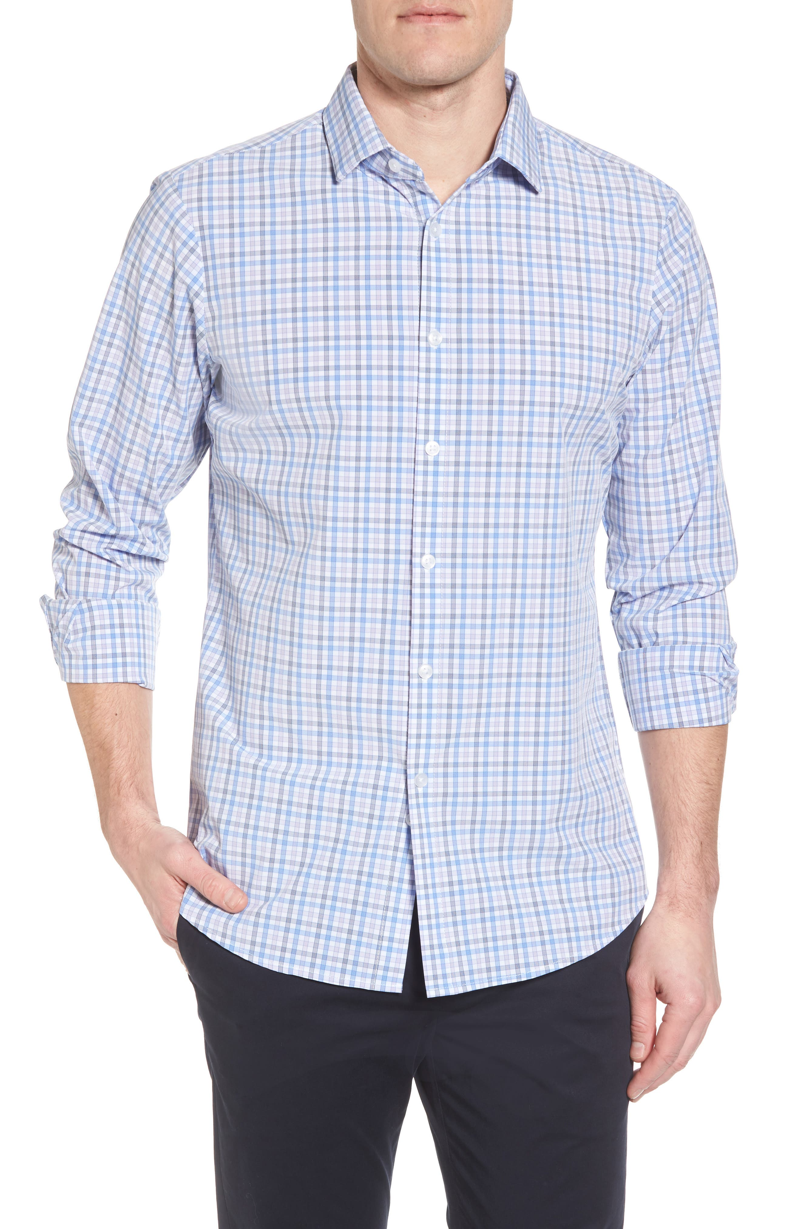 Donley Tattersall Sport Shirt,                             Main thumbnail 1, color,                             BLUE