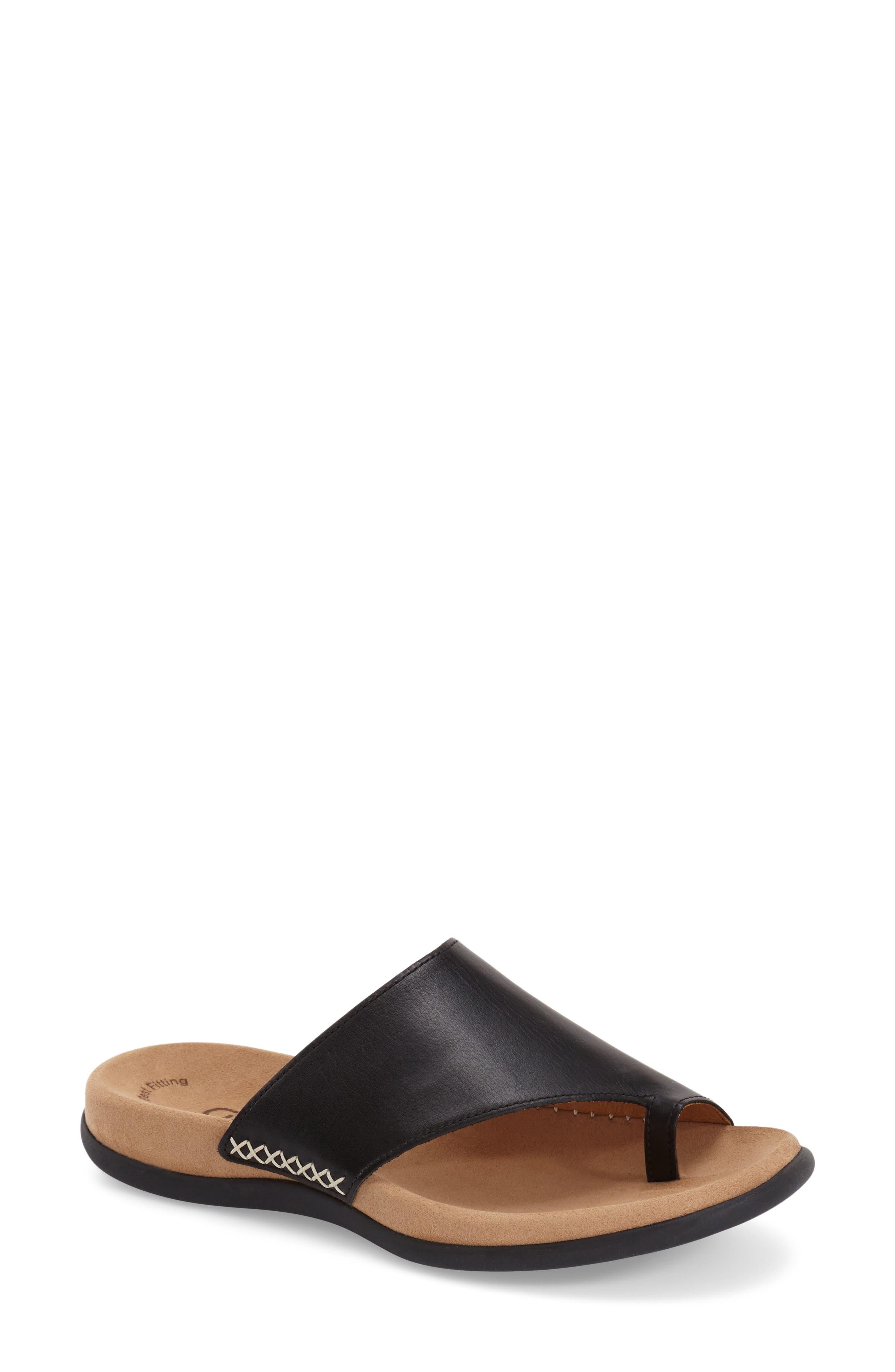 Toe Loop Sandal,                             Alternate thumbnail 4, color,                             BLACK NUBUCK LEATHER