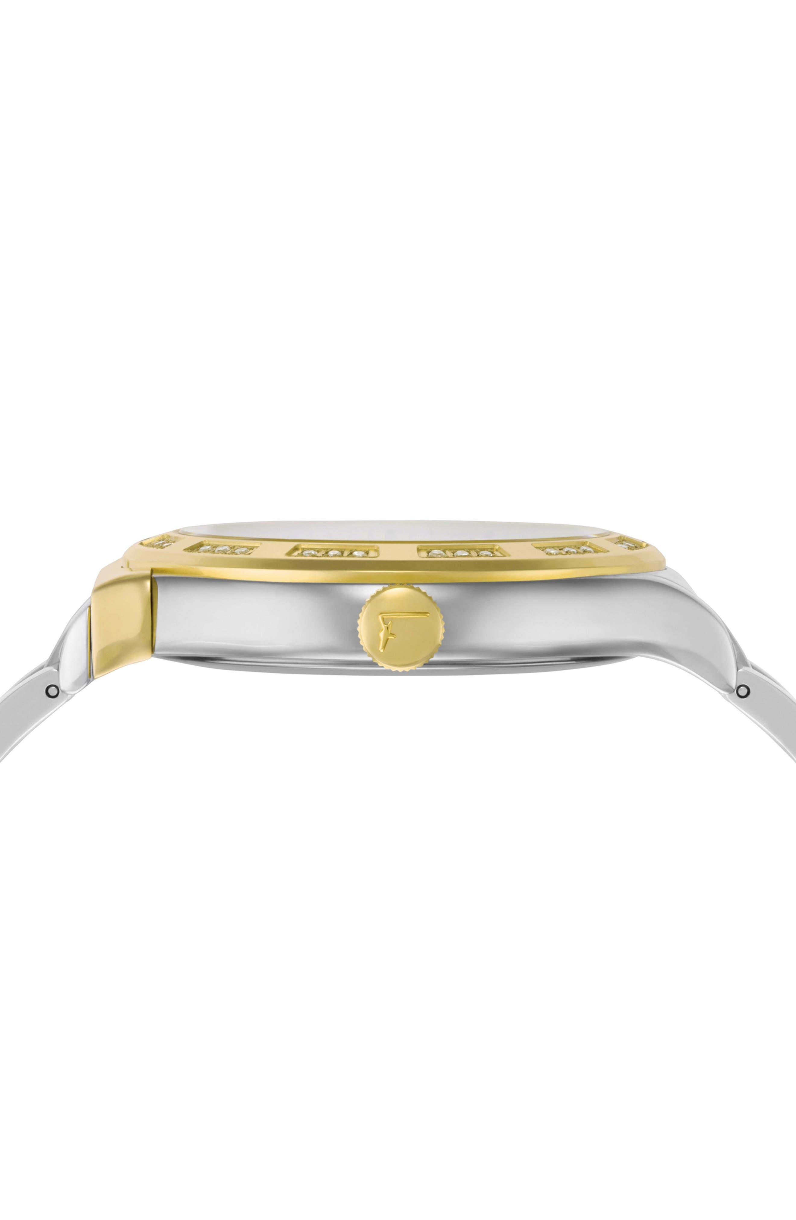 1898 Diamond Bracelet Watch, 40mm,                             Alternate thumbnail 3, color,                             SILVER/ WHITE MOP/ GOLD