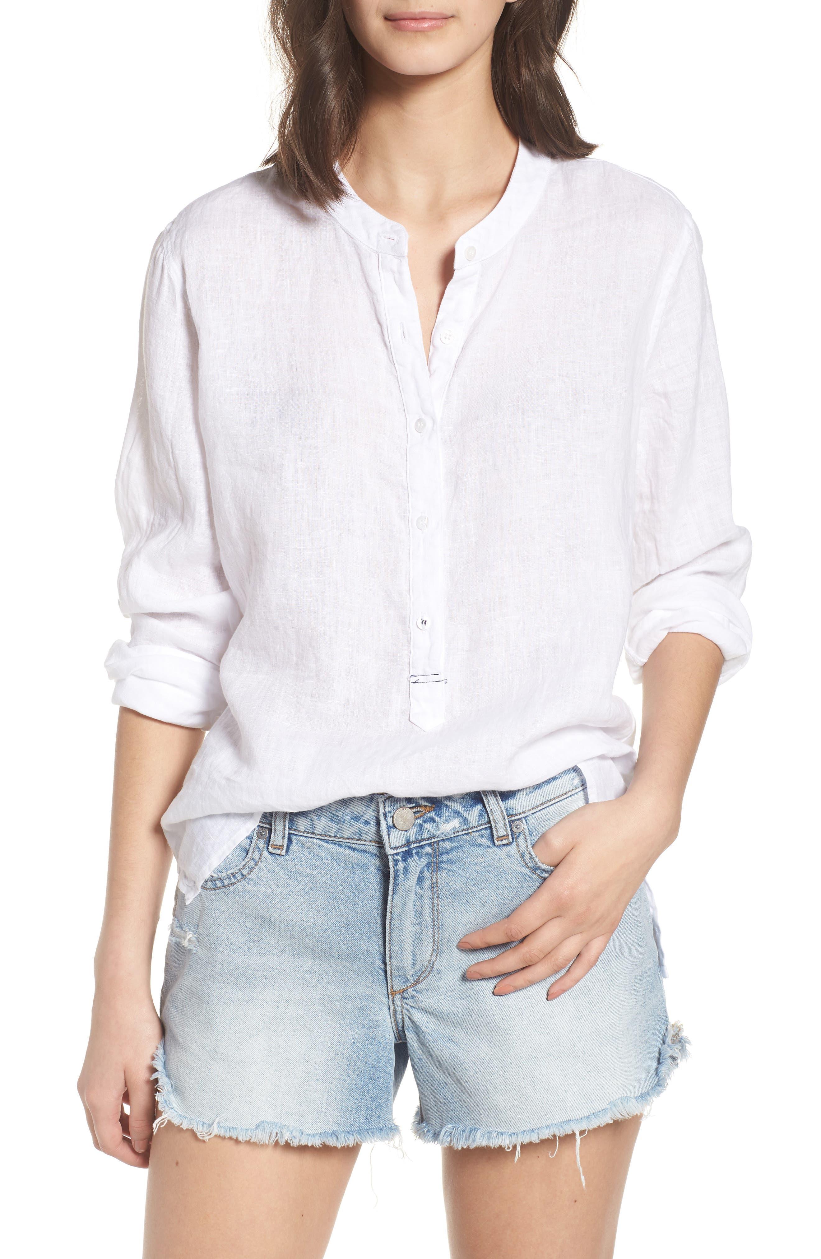 Linen Henley Shirt,                         Main,                         color, 100