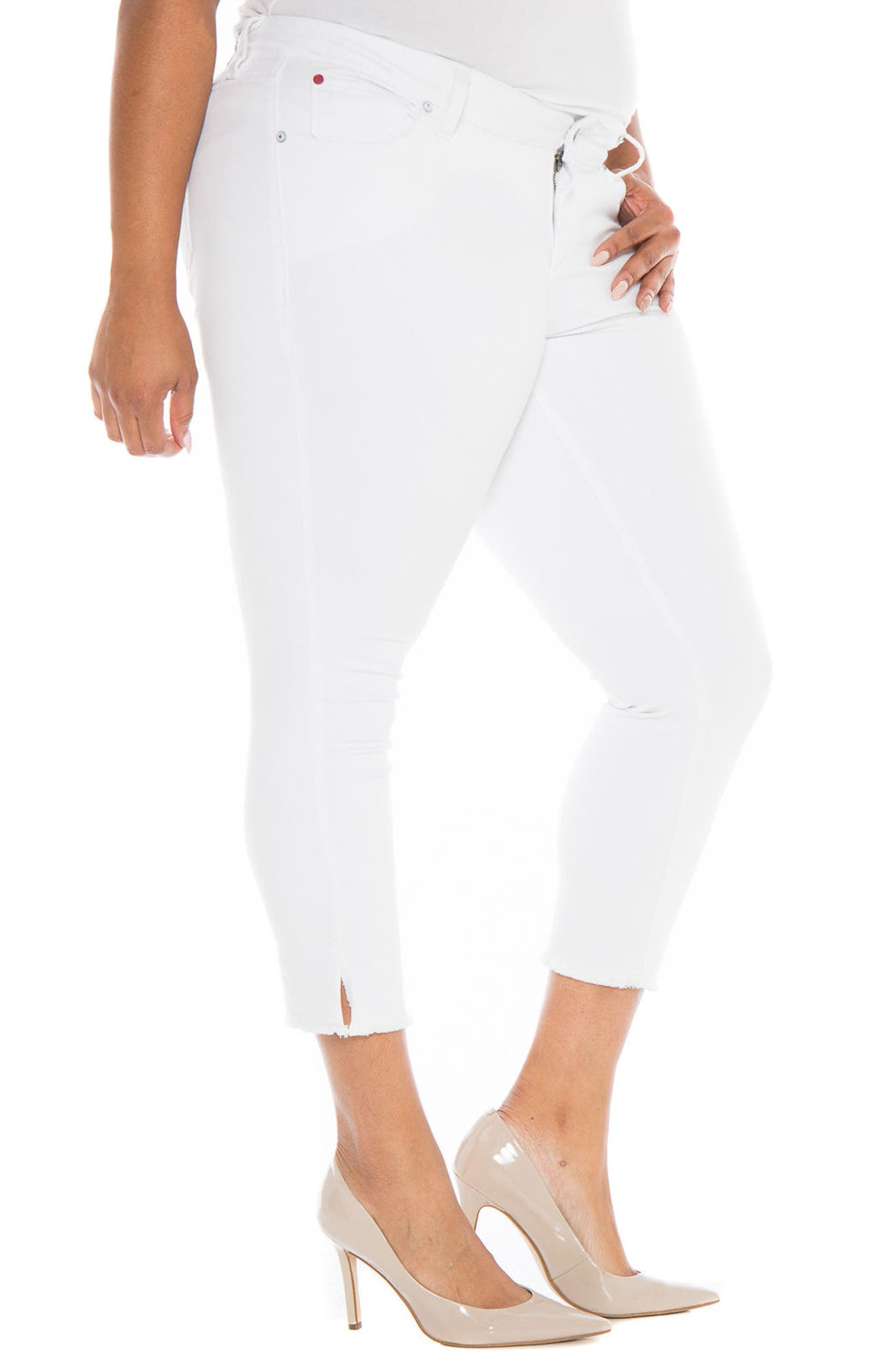 Frayed Crop Skinny Jeans,                             Alternate thumbnail 3, color,                             100