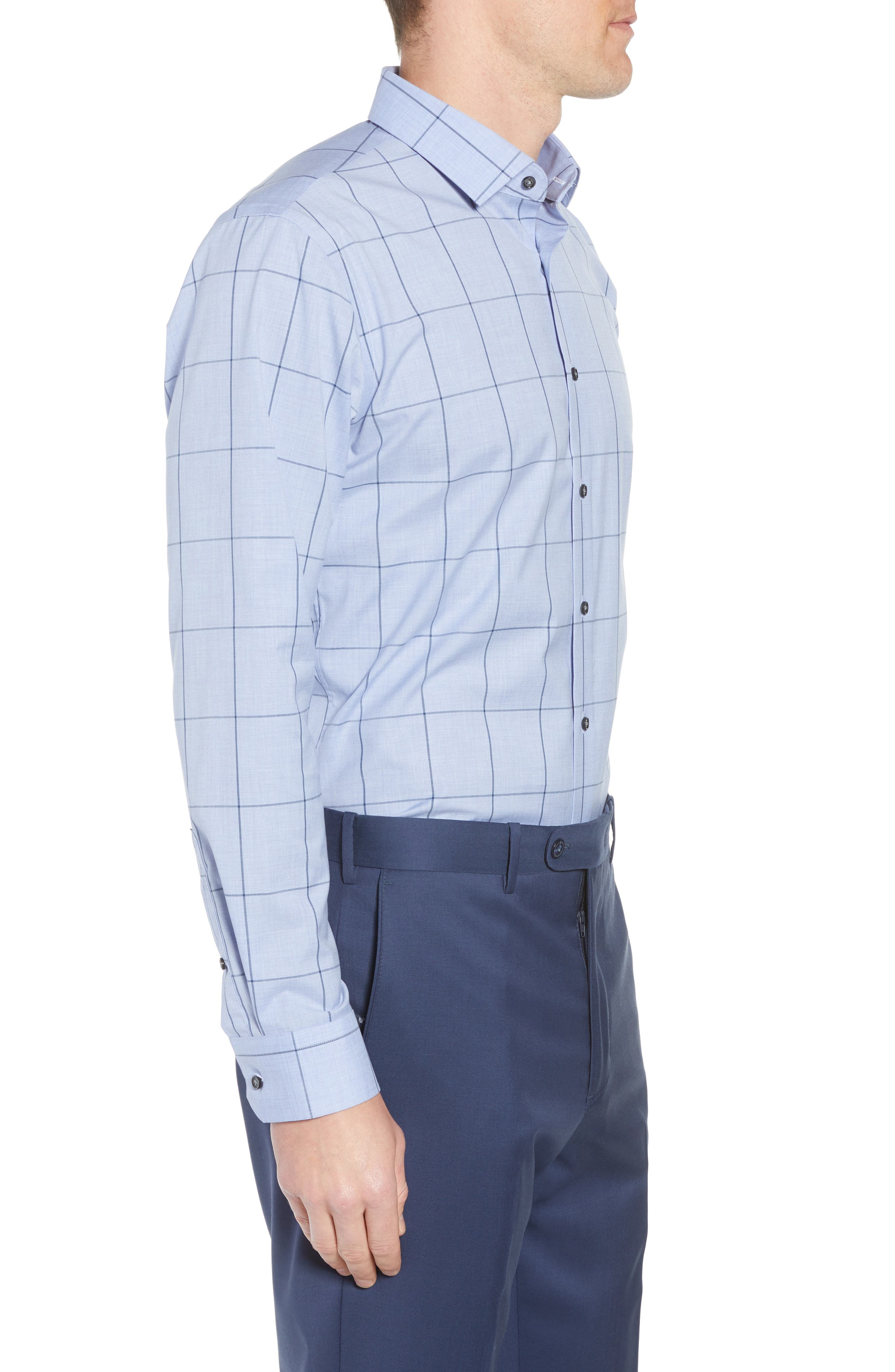 Trim Fit Non-Iron Windowpane Dress Shirt,                             Alternate thumbnail 4, color,                             BLUE HAZE