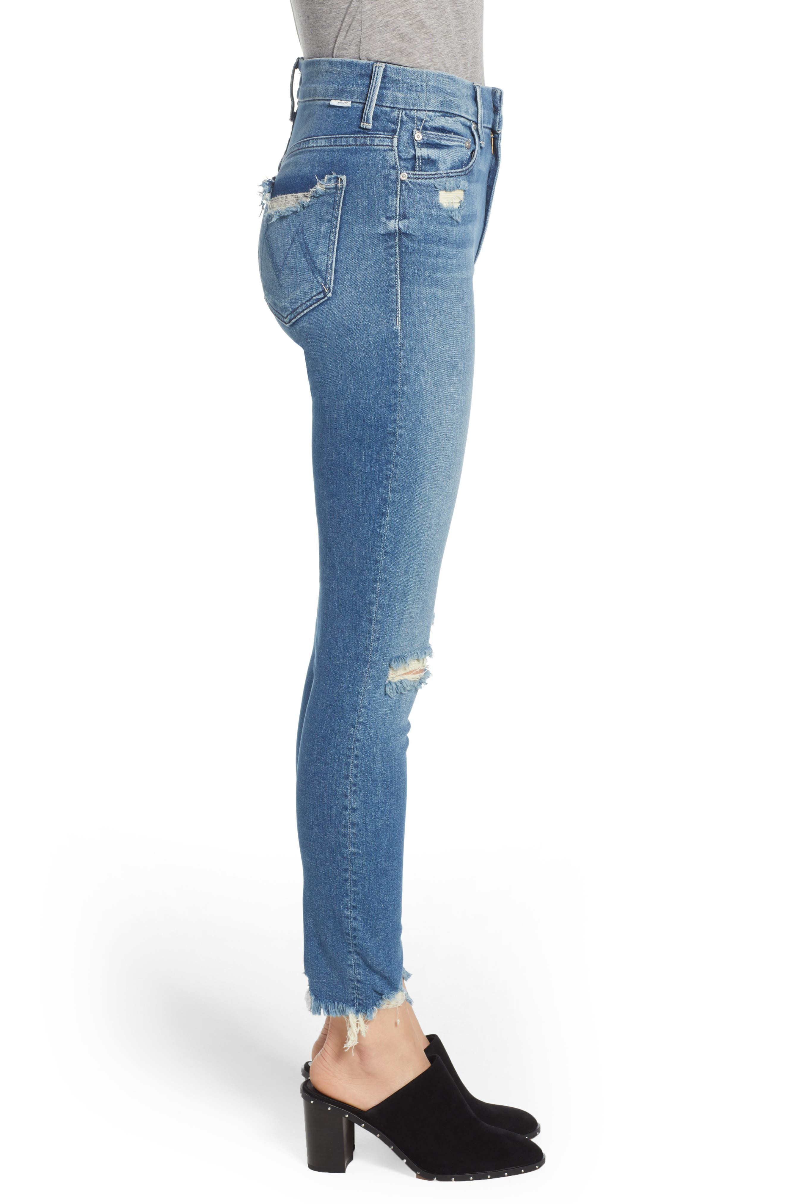 The Looker High Waist Fray Ankle Skinny Jeans,                             Alternate thumbnail 3, color,                             426