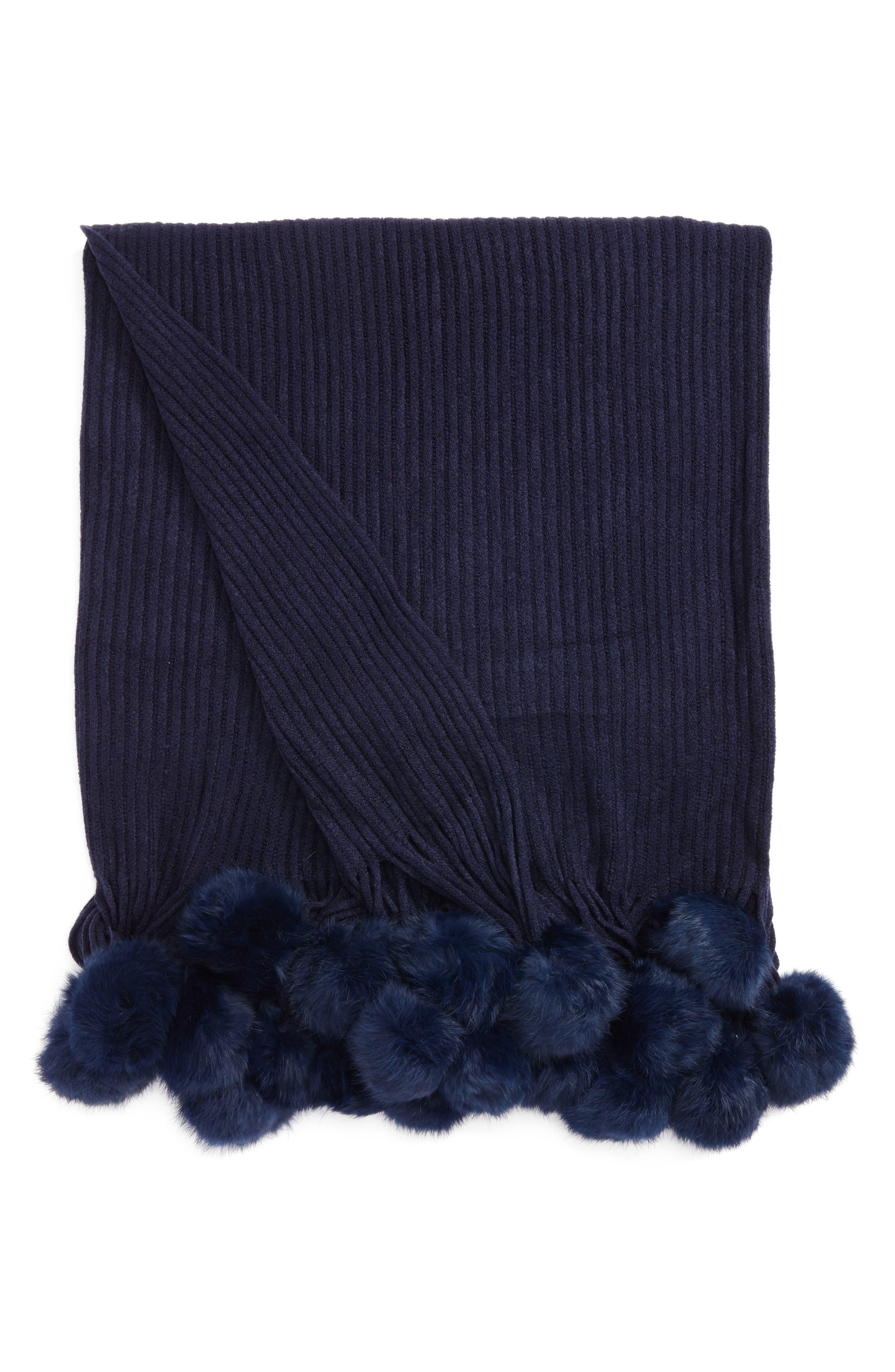 Genuine Rabbit Fur Pompom Rib Knit Throw,                             Main thumbnail 3, color,