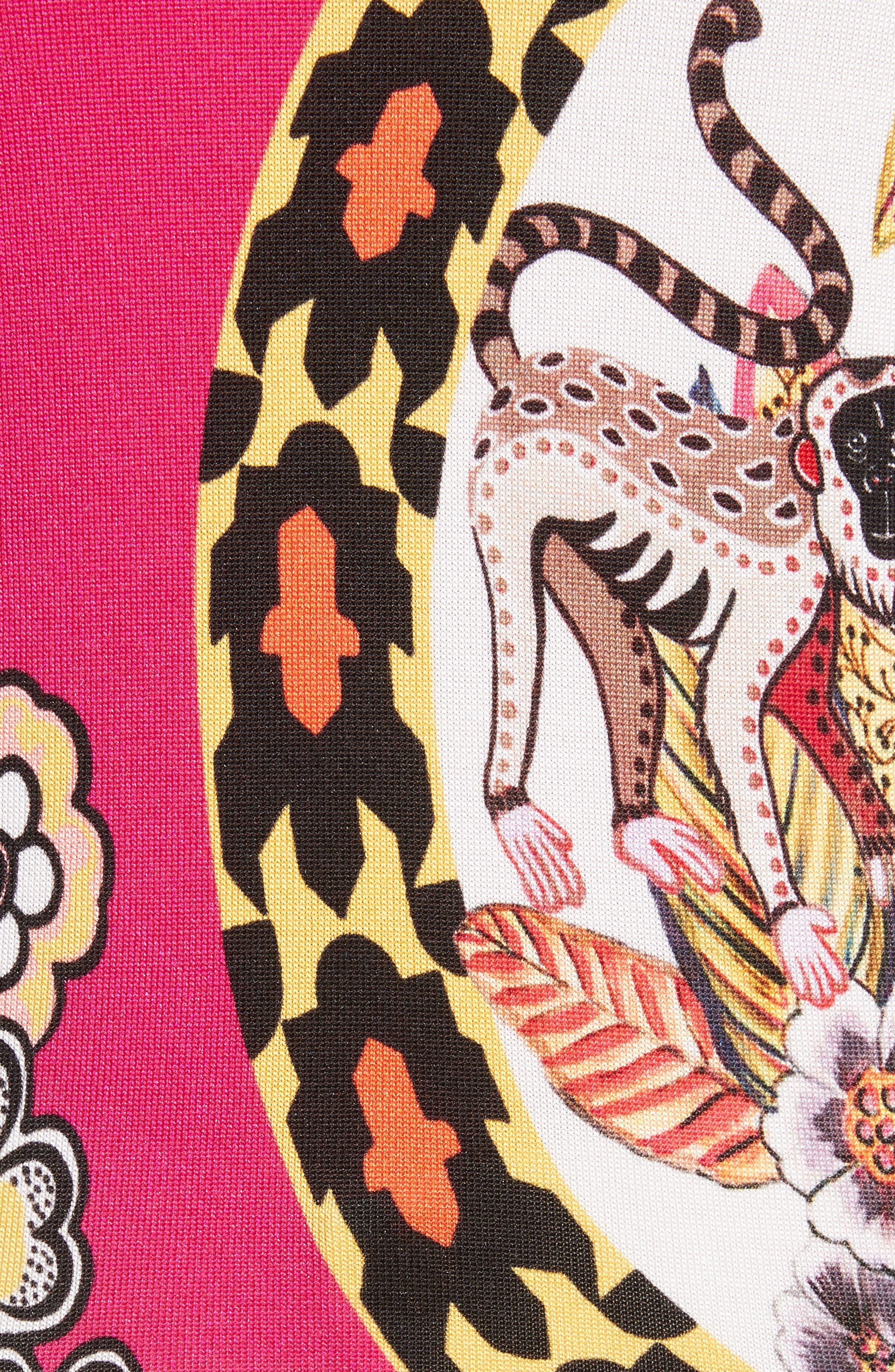 Animal Jungle Stretch Silk Sweater,                             Alternate thumbnail 5, color,