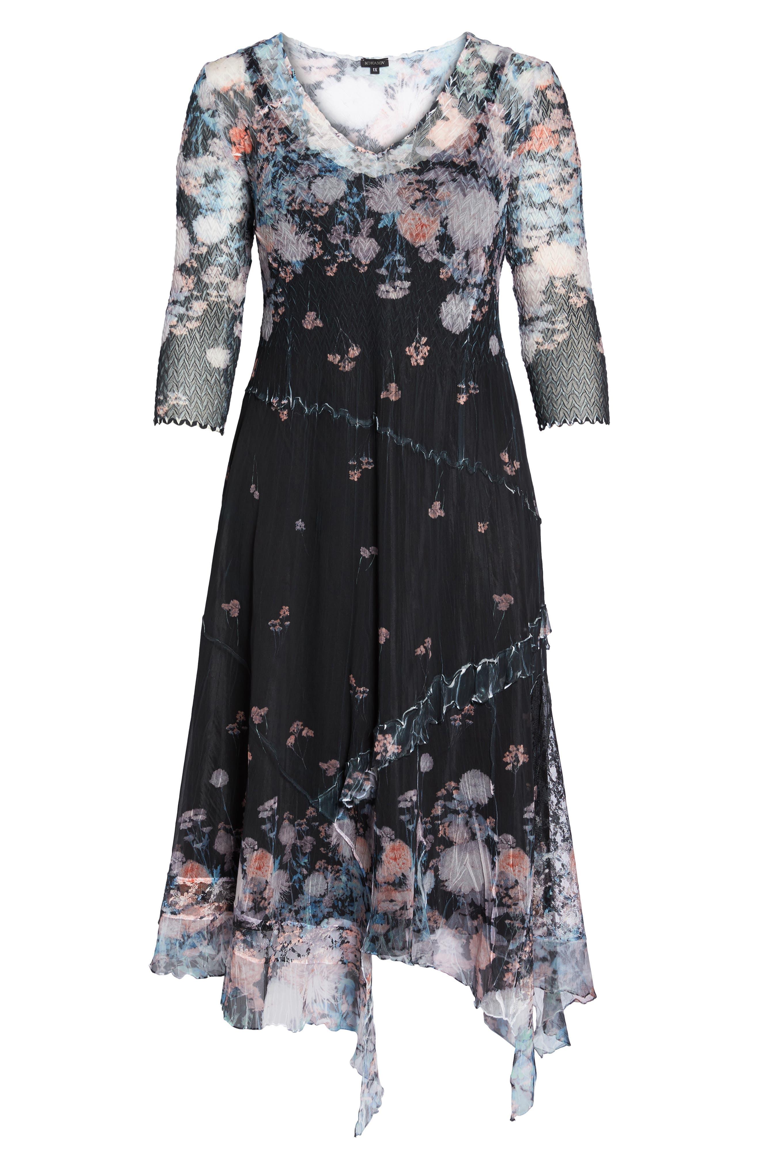 Floral Print Handkerchief Hem Maxi Dress,                             Alternate thumbnail 6, color,                             408