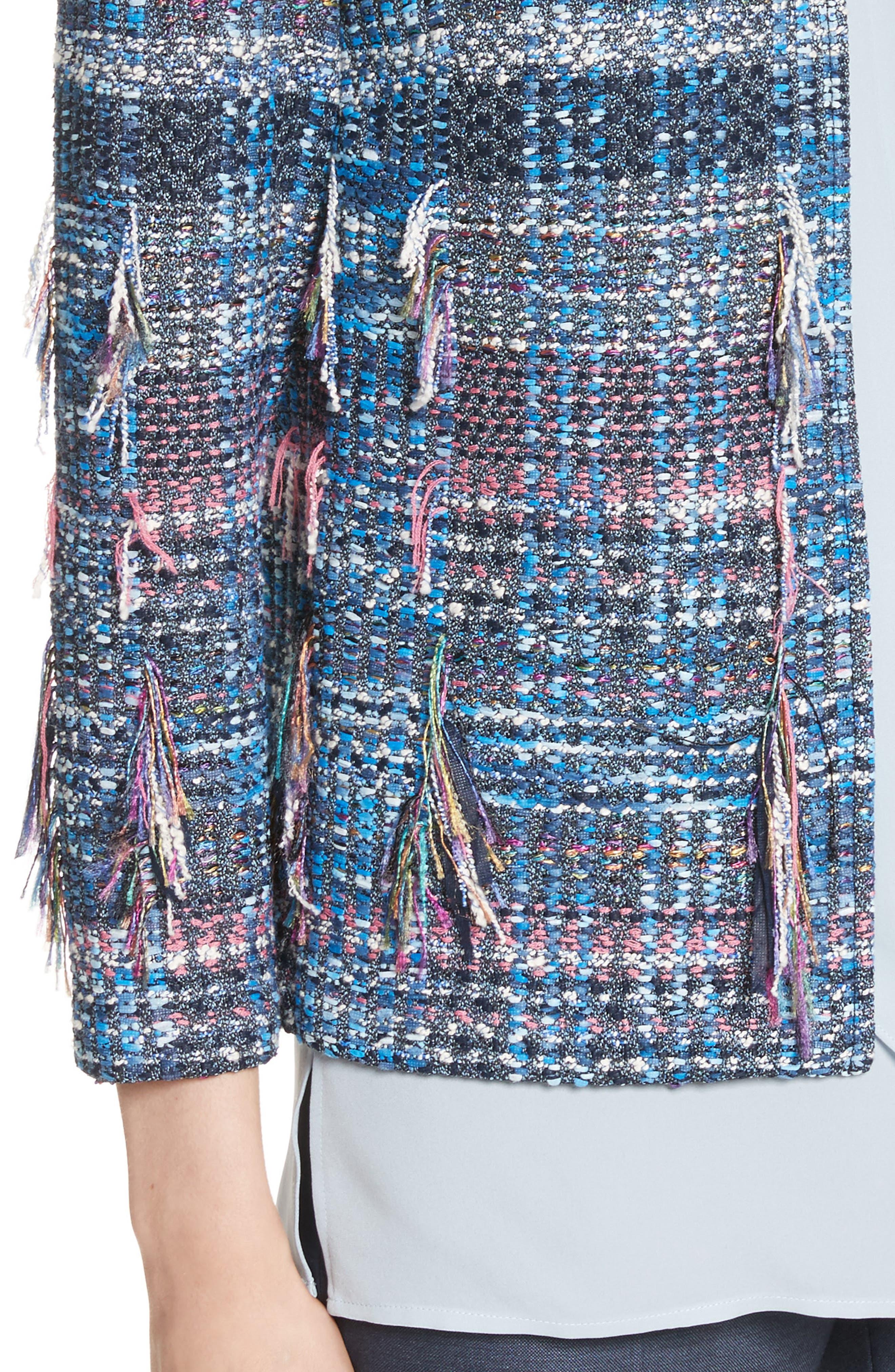 Fil Coupé Watercolor Placed Knit Jacket,                             Alternate thumbnail 4, color,                             420