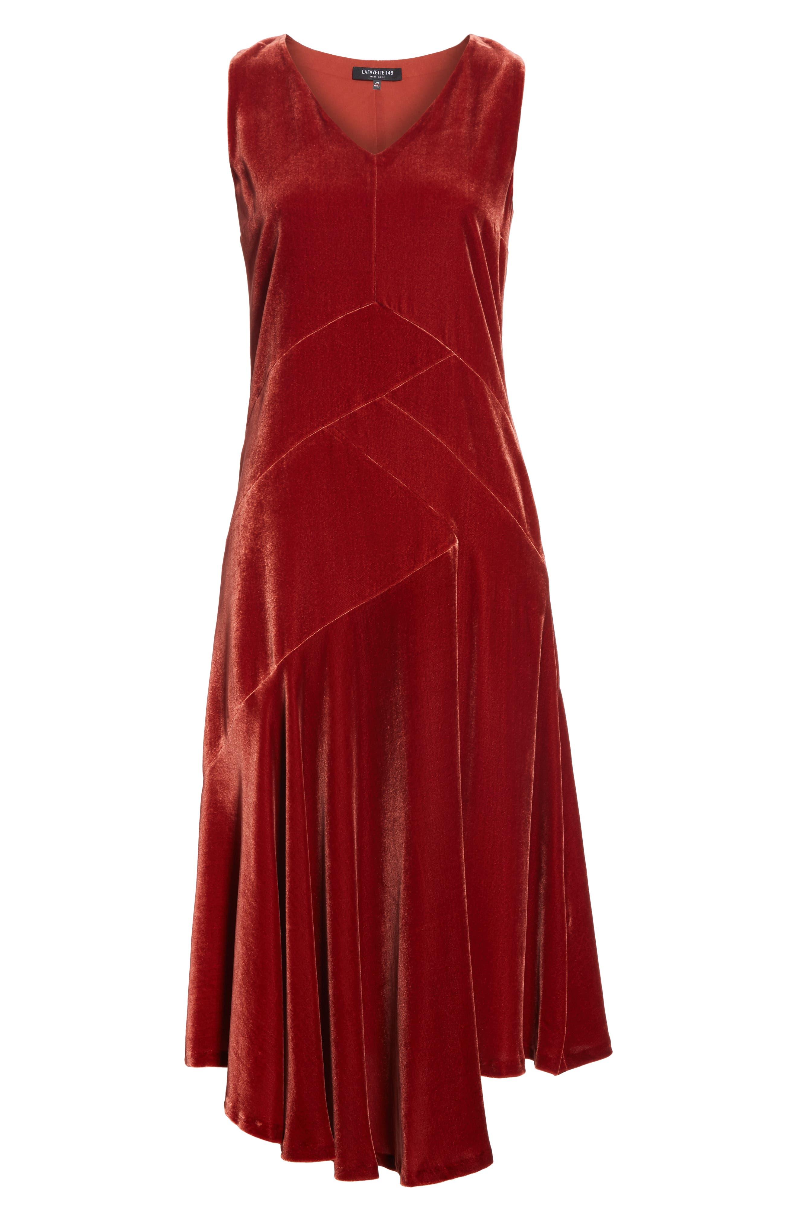 Ashlena Asymmetrical Velvet Dress,                             Alternate thumbnail 7, color,                             SAFFRON