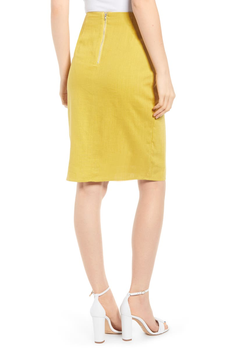 J.O.A. Side Button Cotton & Linen Midi Skirt, Alternate, color, YELLOW