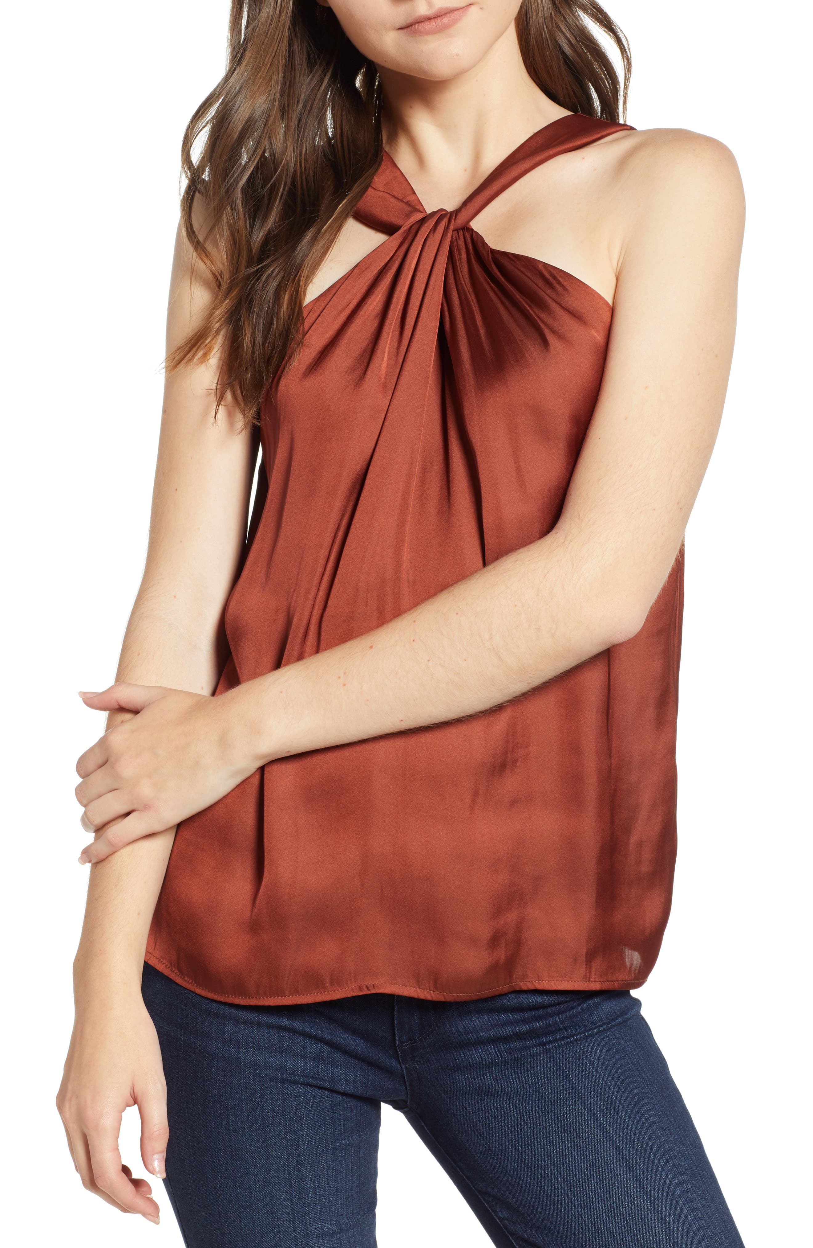 Twist Front Top,                         Main,                         color, RED OCHRE