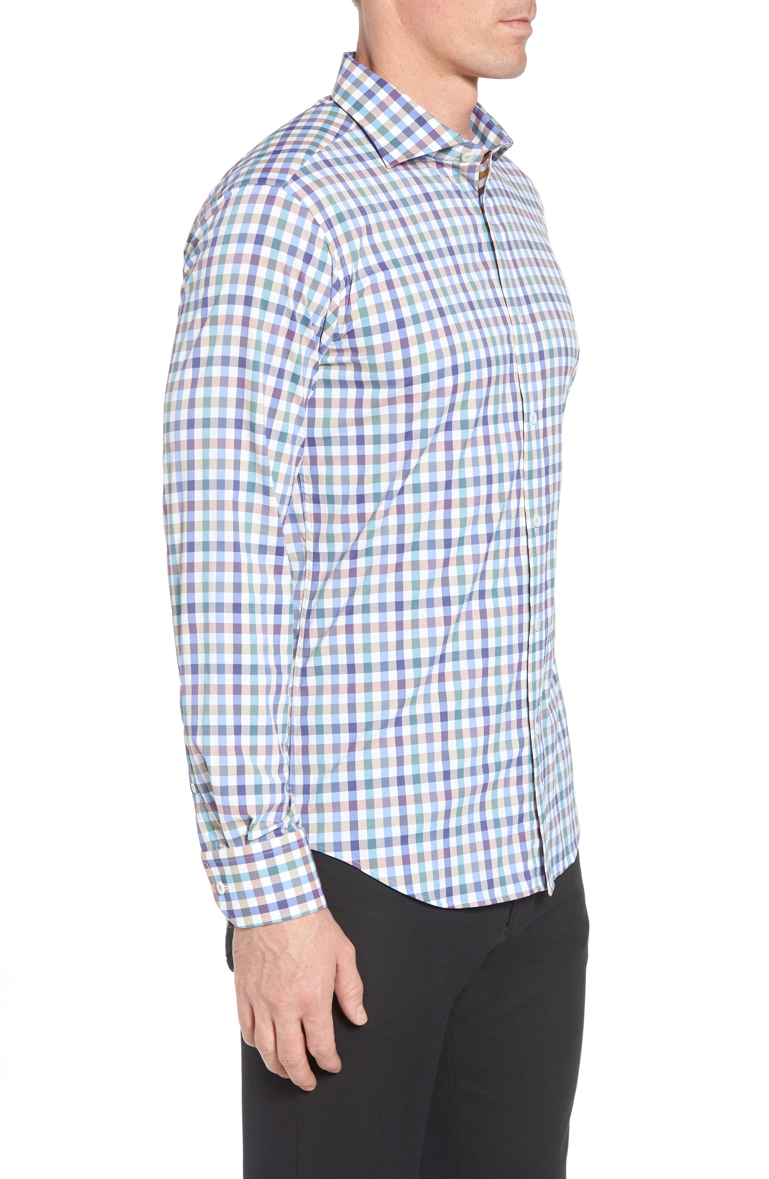 Shaped Fit Check Sport Shirt,                             Alternate thumbnail 3, color,                             208
