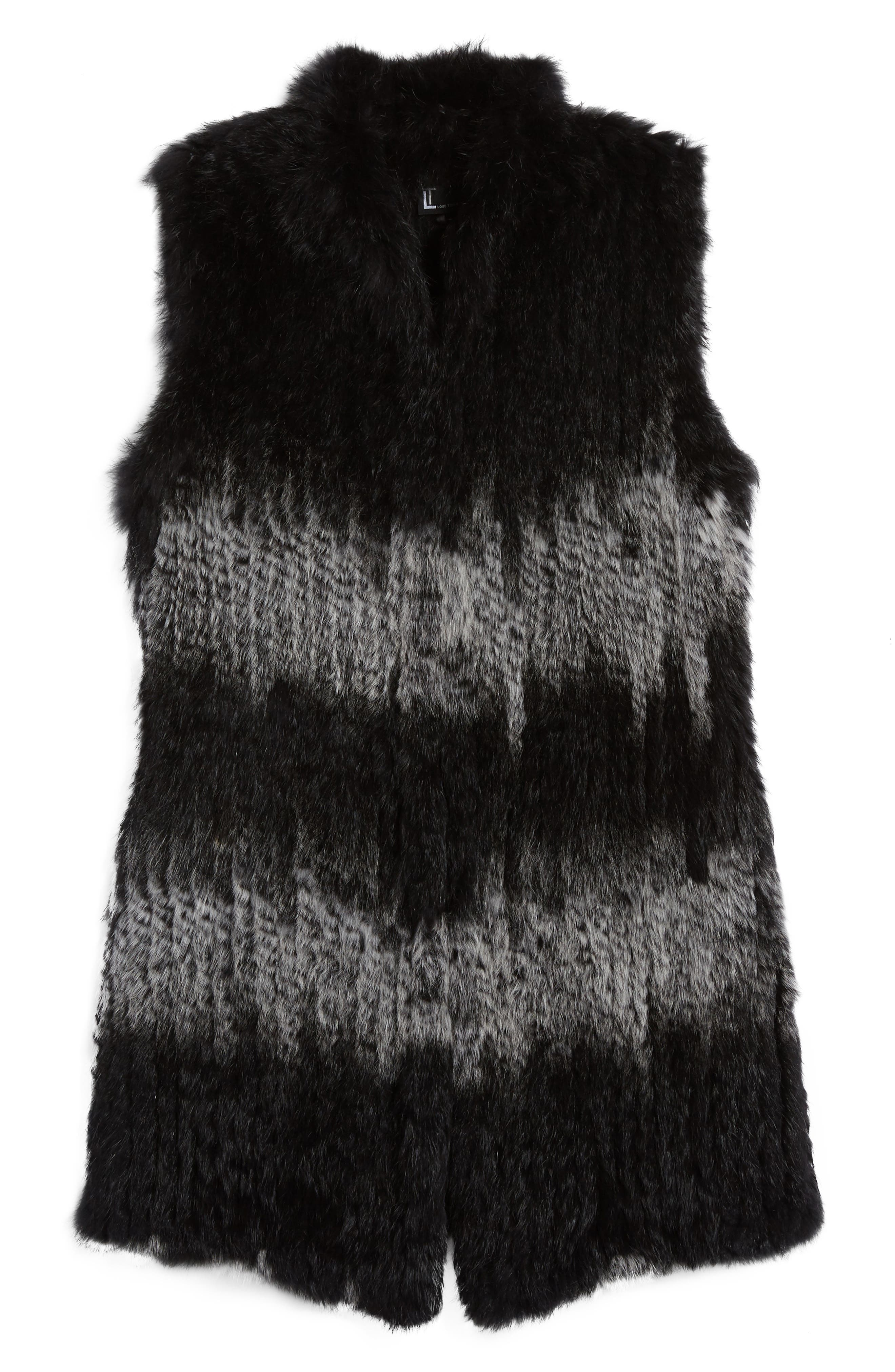 Stripe Genuine Rabbit Fur Vest,                             Alternate thumbnail 5, color,                             962