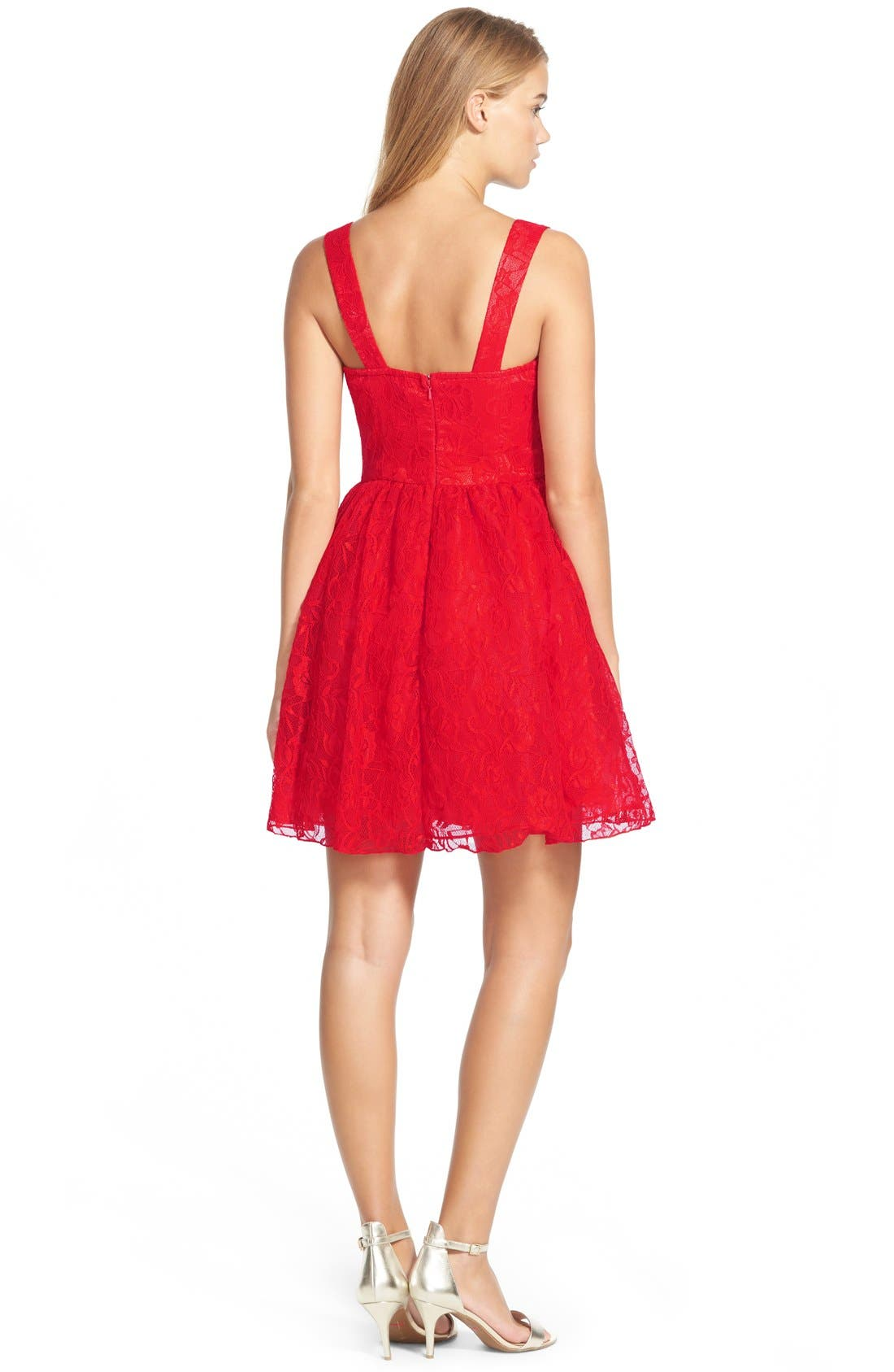 Lace Skater Dress,                             Alternate thumbnail 3, color,                             600