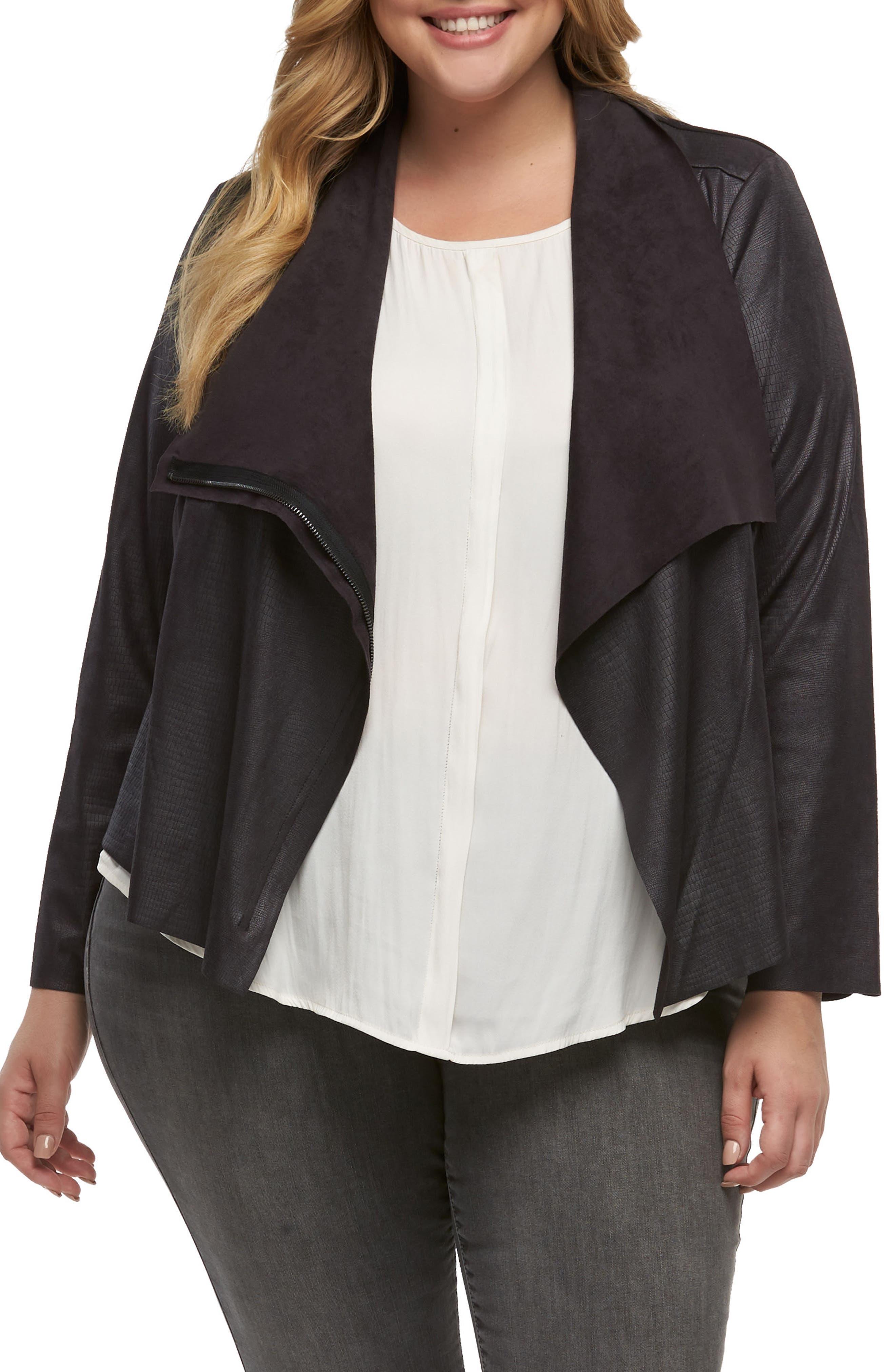 Shani Faux Leather Jacket,                             Main thumbnail 1, color,                             EMBOSSED COBRA