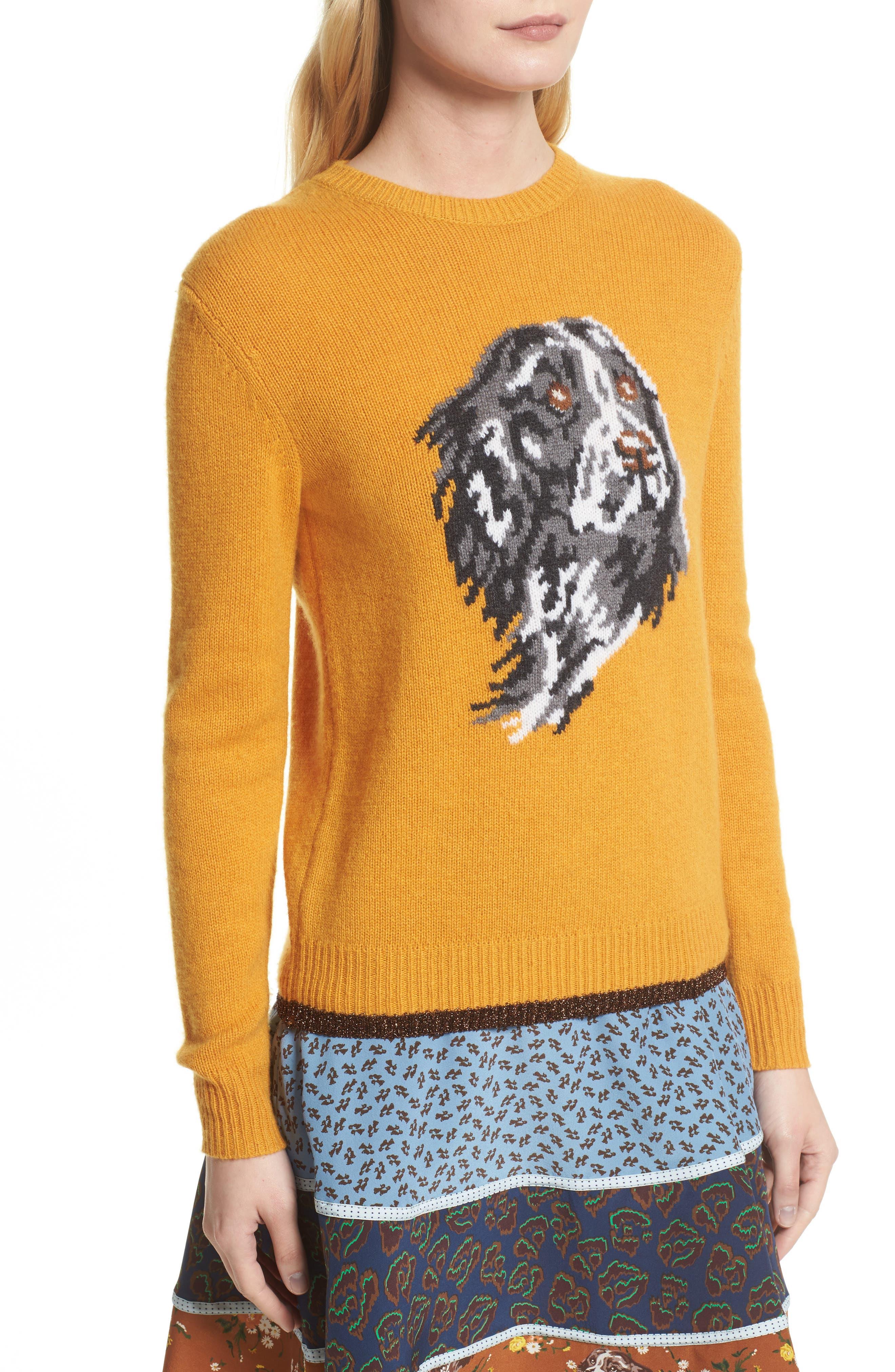 Intarsia Dog Cashmere Sweater,                             Alternate thumbnail 4, color,                             701