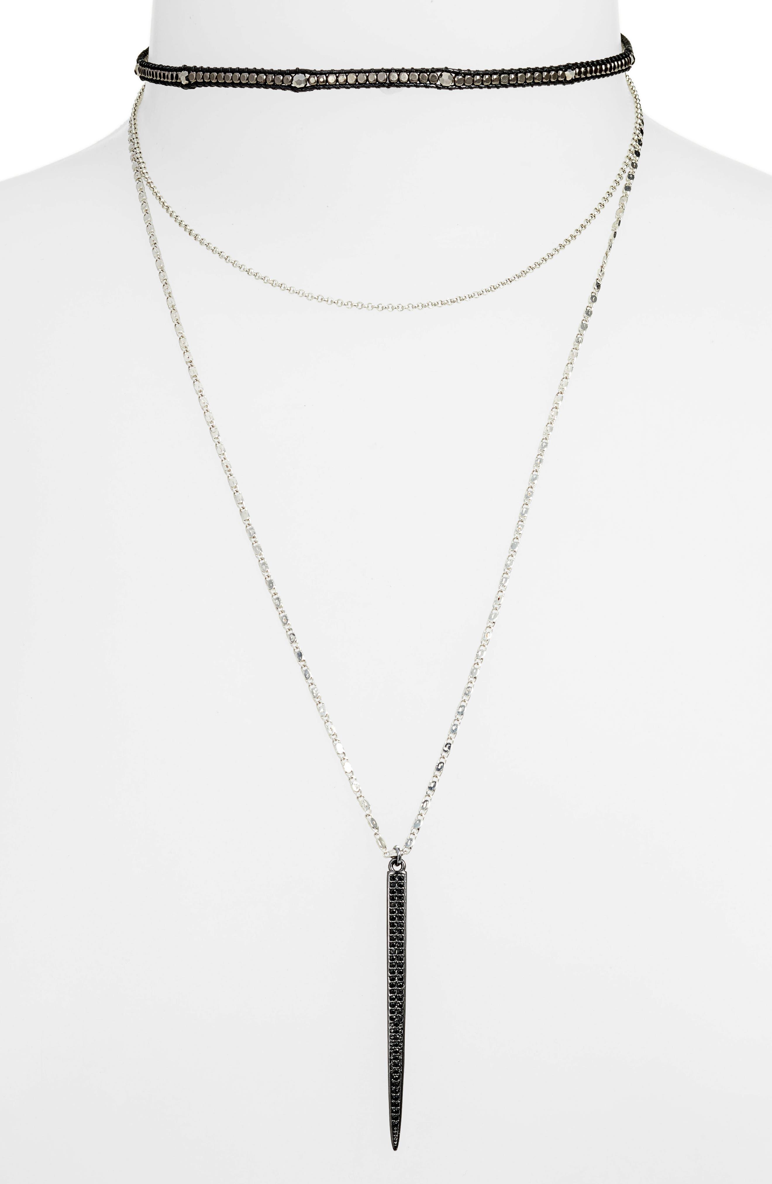 Layered Choker Necklace,                             Main thumbnail 1, color,                             020