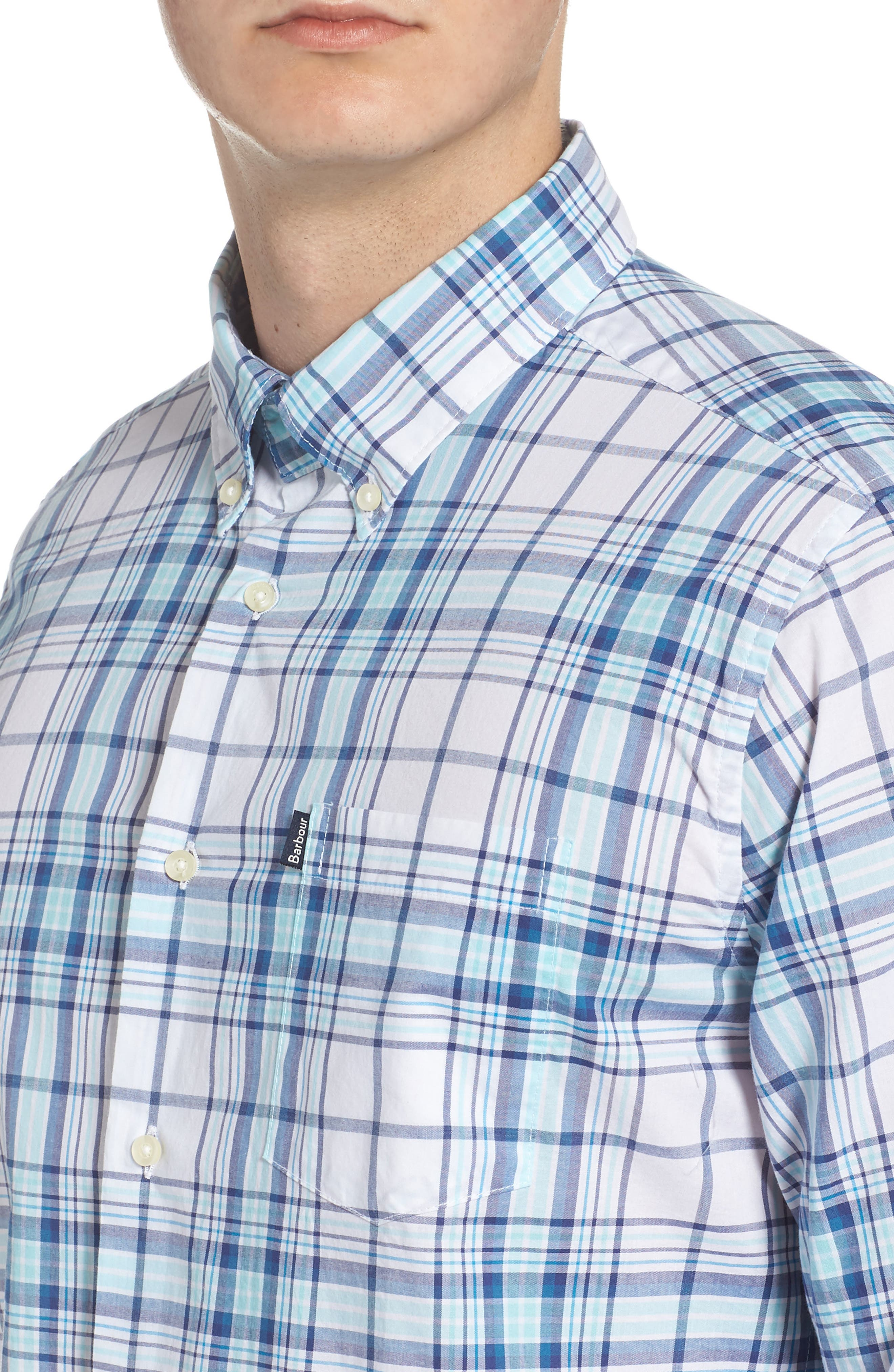 Christopher Tailored Fit Plaid Sport Shirt,                             Alternate thumbnail 2, color,                             440