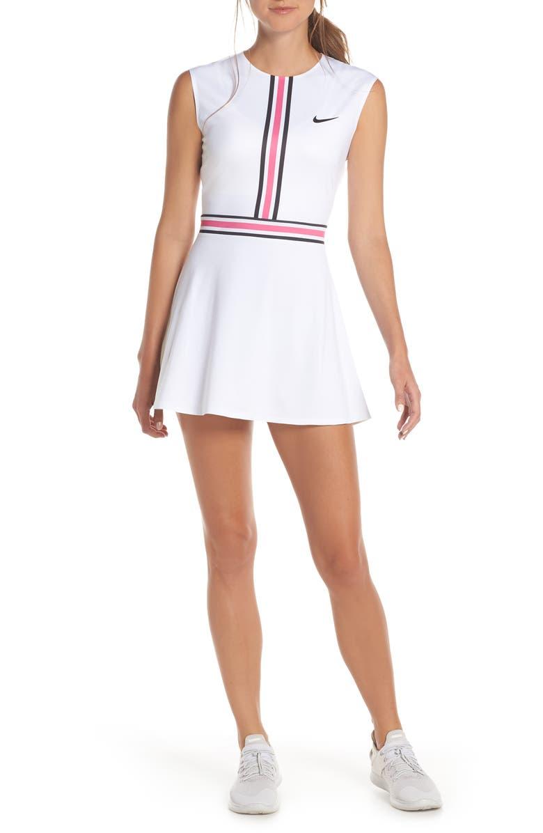 buy online 833c7 d2776 NIKE Court Tennis Dress, Main, color, WHITE  LASER FUCHSIA  BLACK