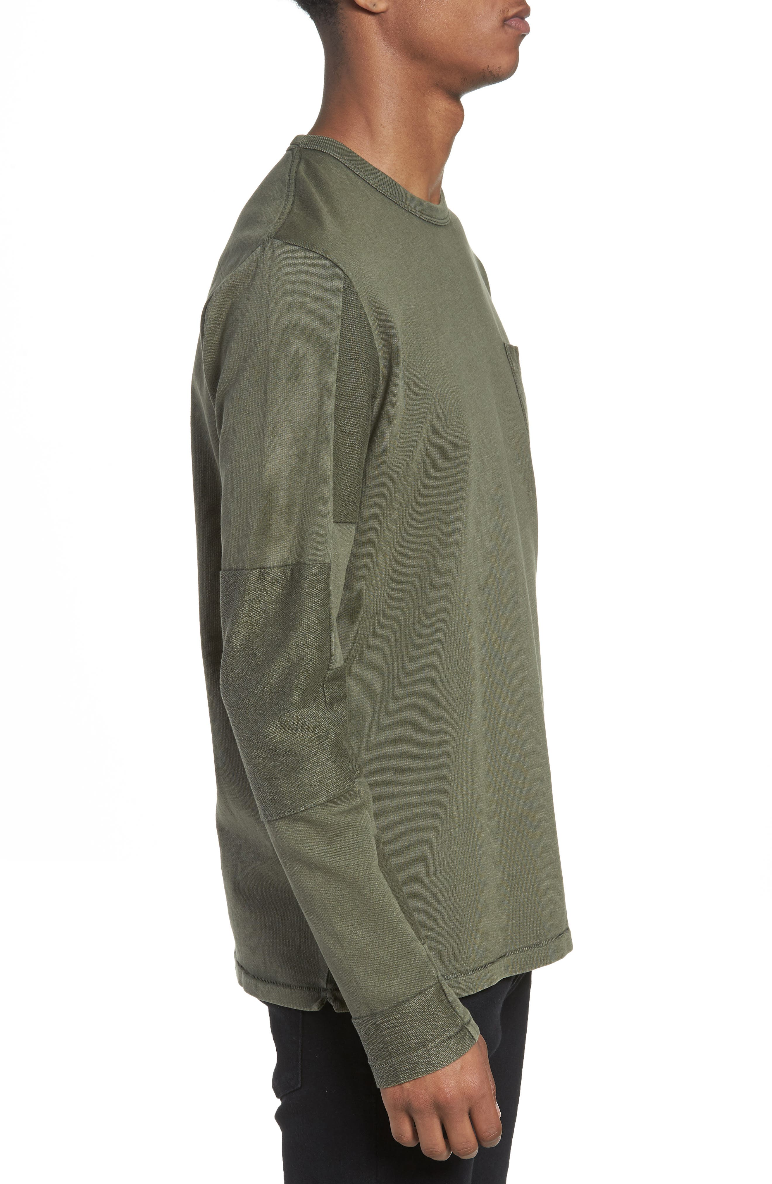 Patchwork Long Sleeve T-Shirt,                             Alternate thumbnail 3, color,                             COMBAT