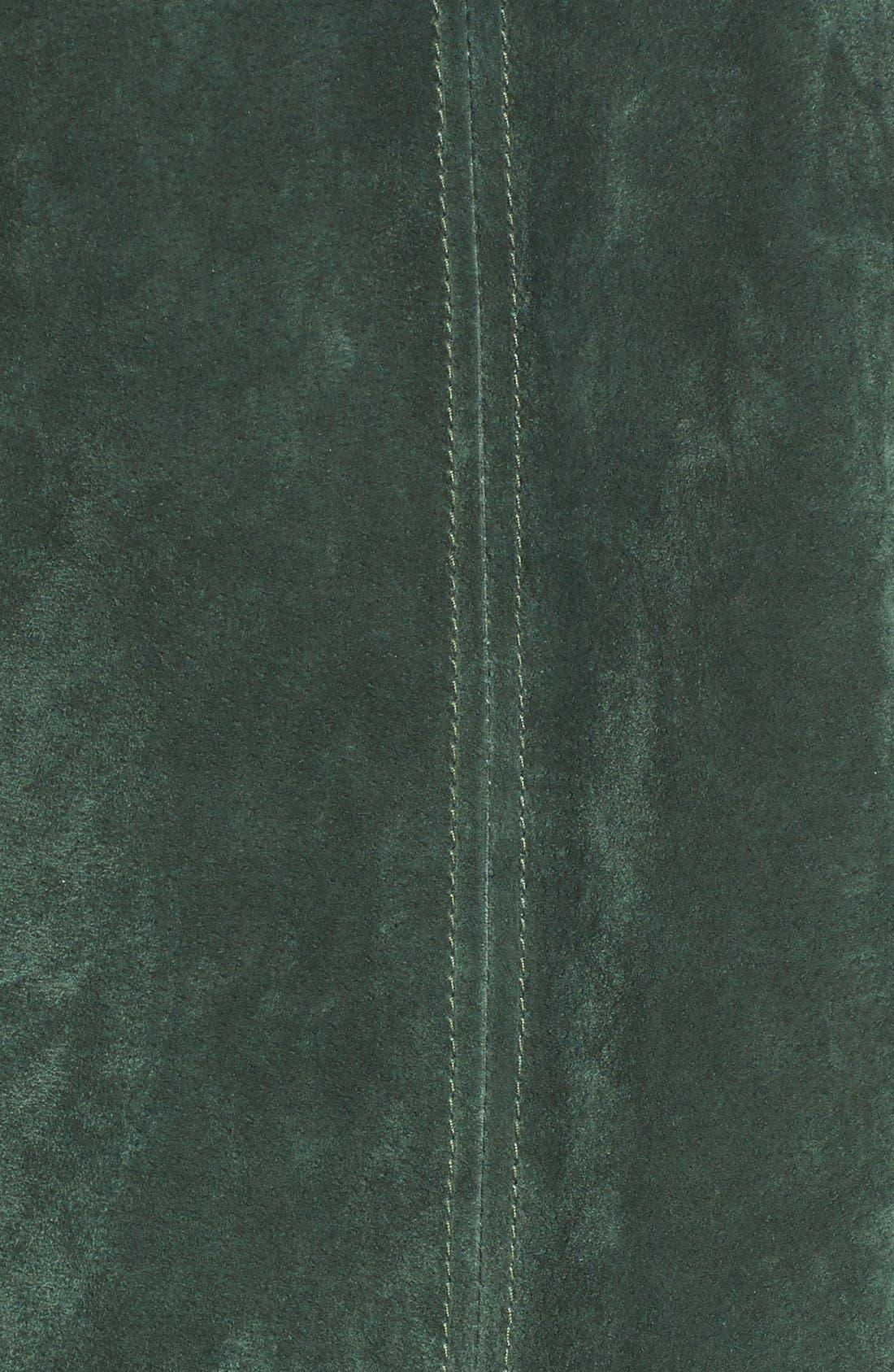 Suede Moto Jacket with Detachable Faux Fur Collar,                             Alternate thumbnail 5, color,                             316
