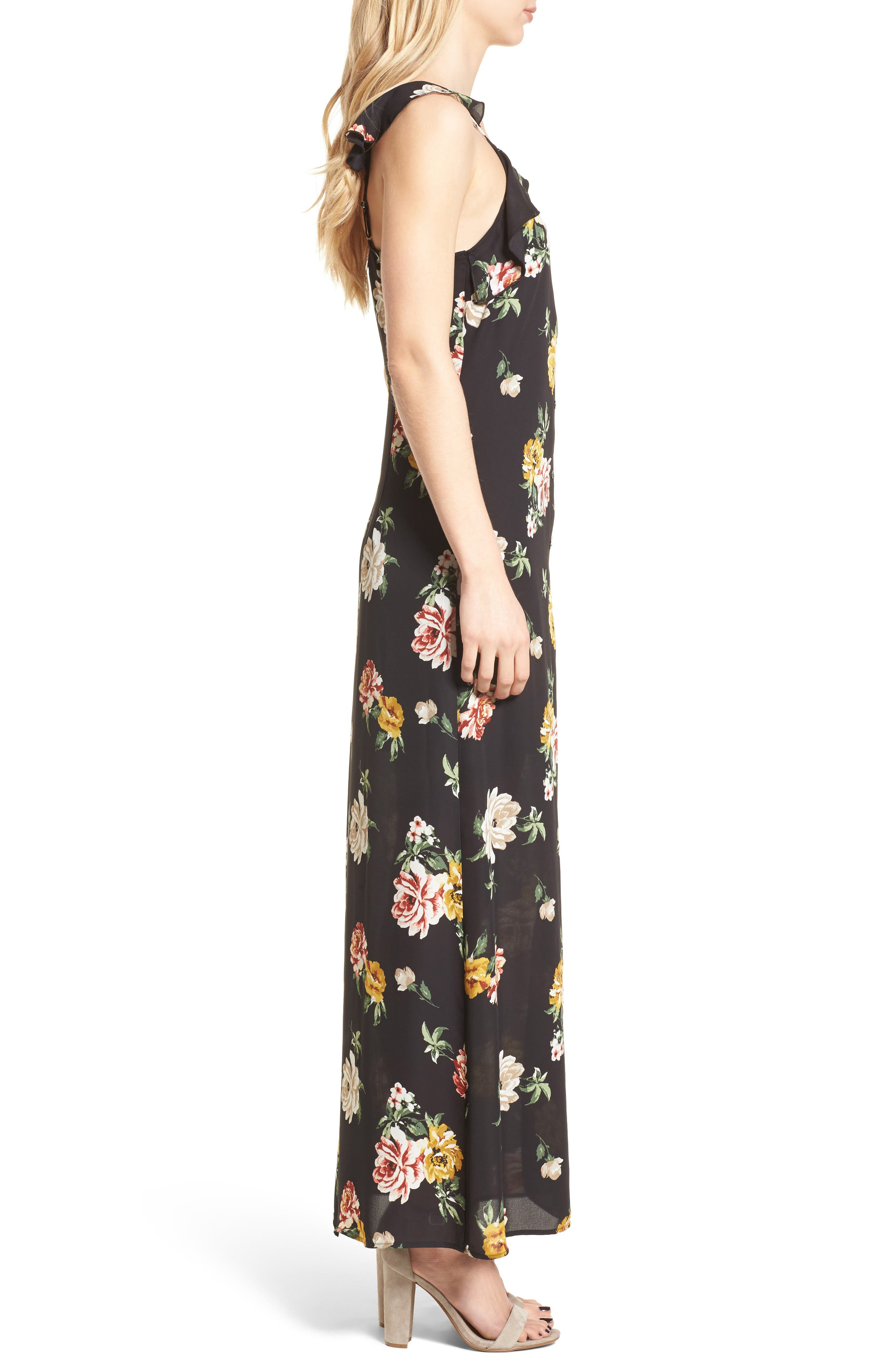 Floral Ruffle Strap Maxi Dress,                             Alternate thumbnail 3, color,                             001