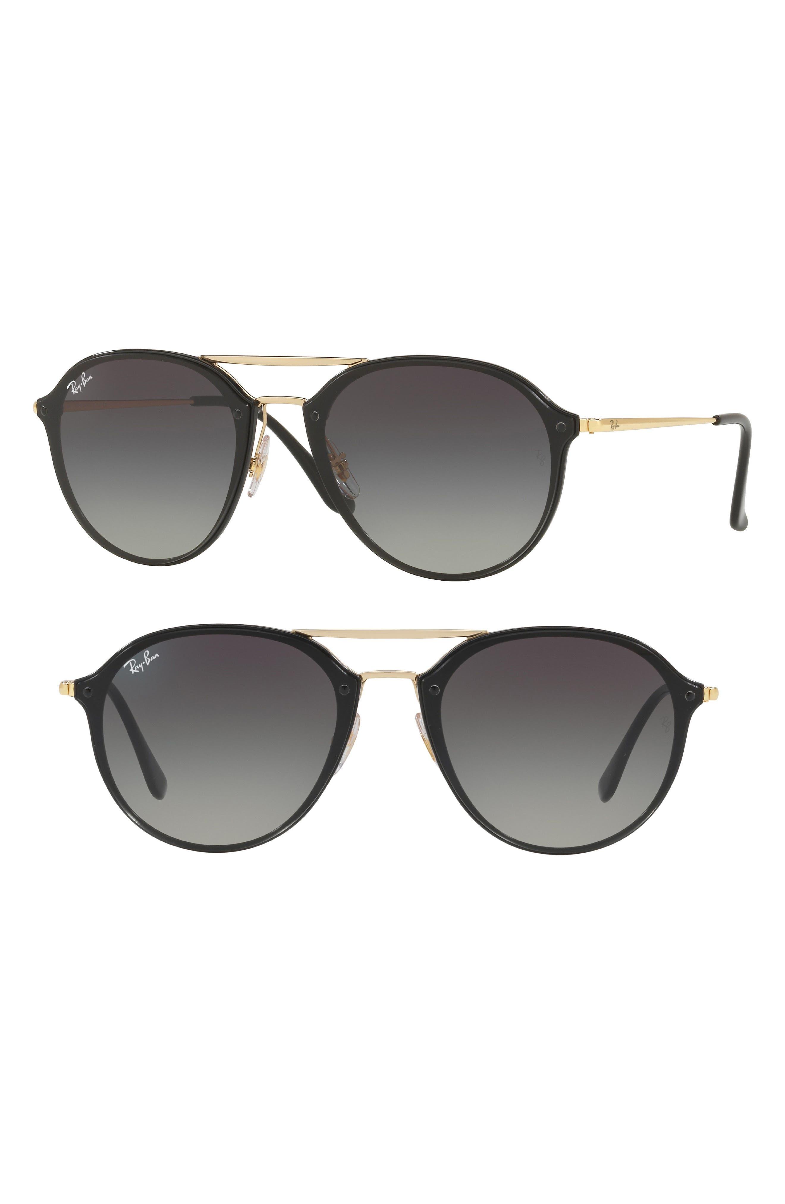62mm Gradient Lens Aviator Sunglasses,                             Main thumbnail 1, color,                             BLACK