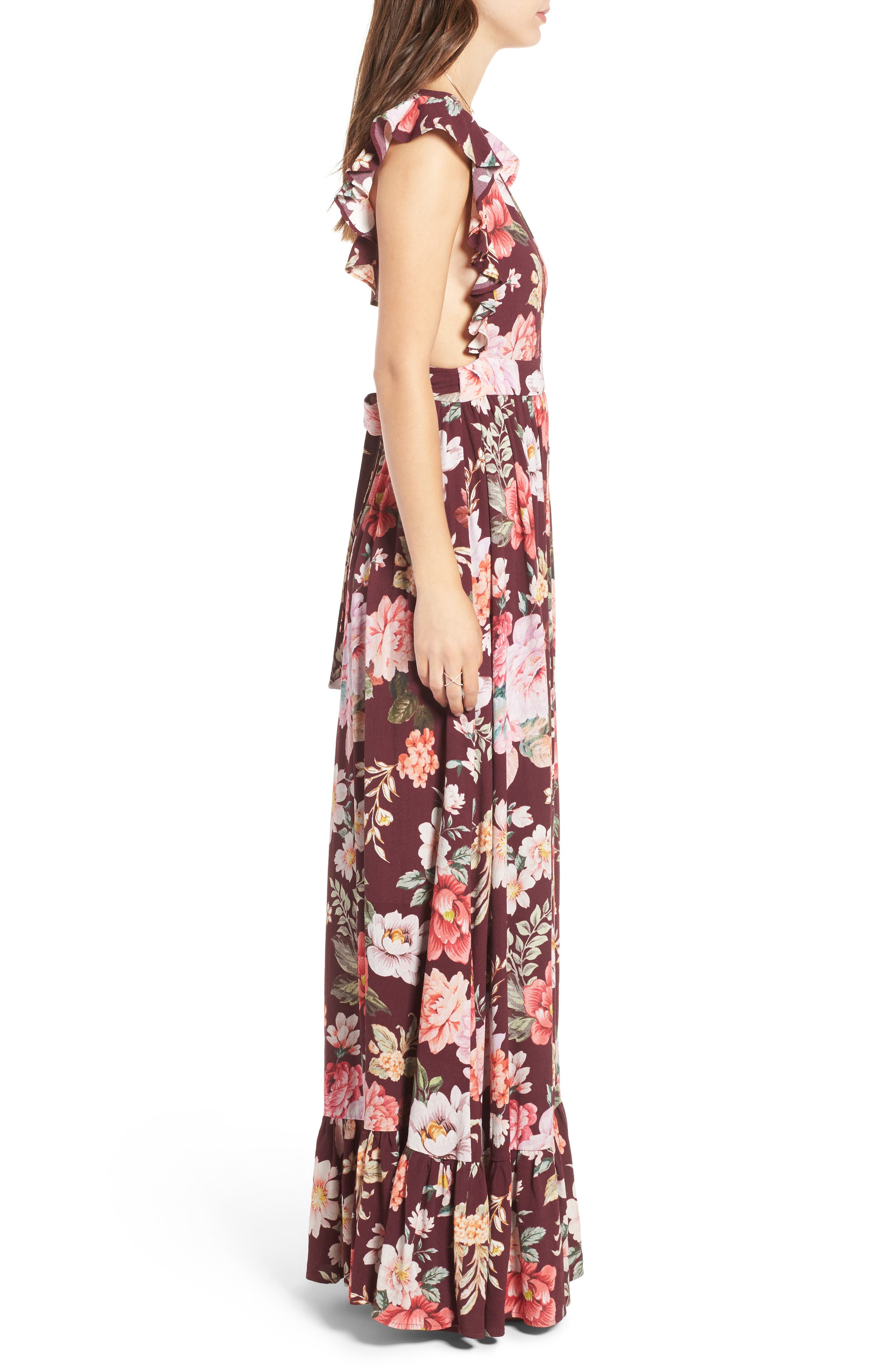MAJORELLE,                             Sweet Pea Maxi Dress,                             Alternate thumbnail 3, color,                             003