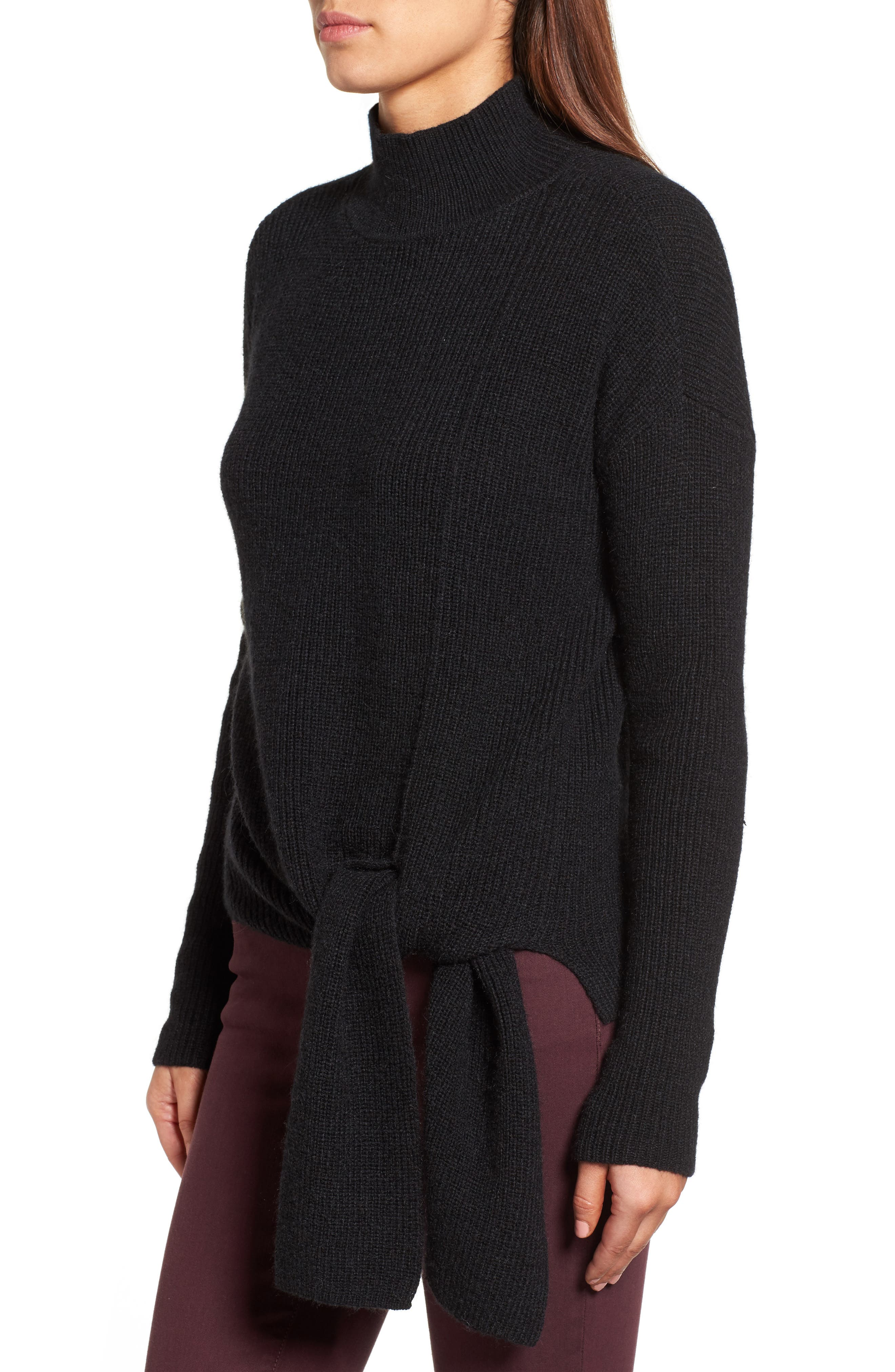 Tie Hem Sweater,                             Alternate thumbnail 3, color,                             001