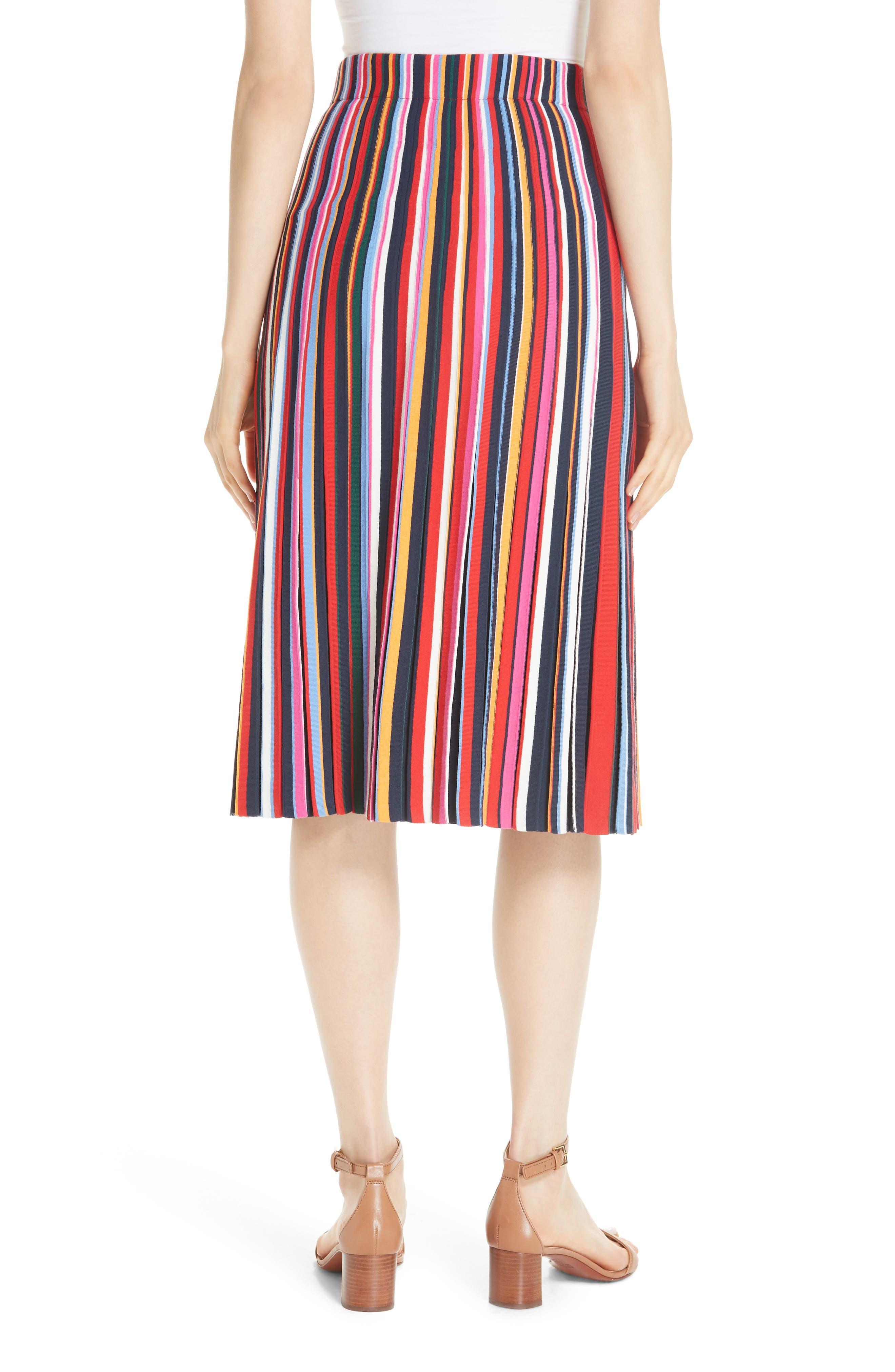 Ellis Stripe Pleated Skirt,                             Alternate thumbnail 2, color,                             405