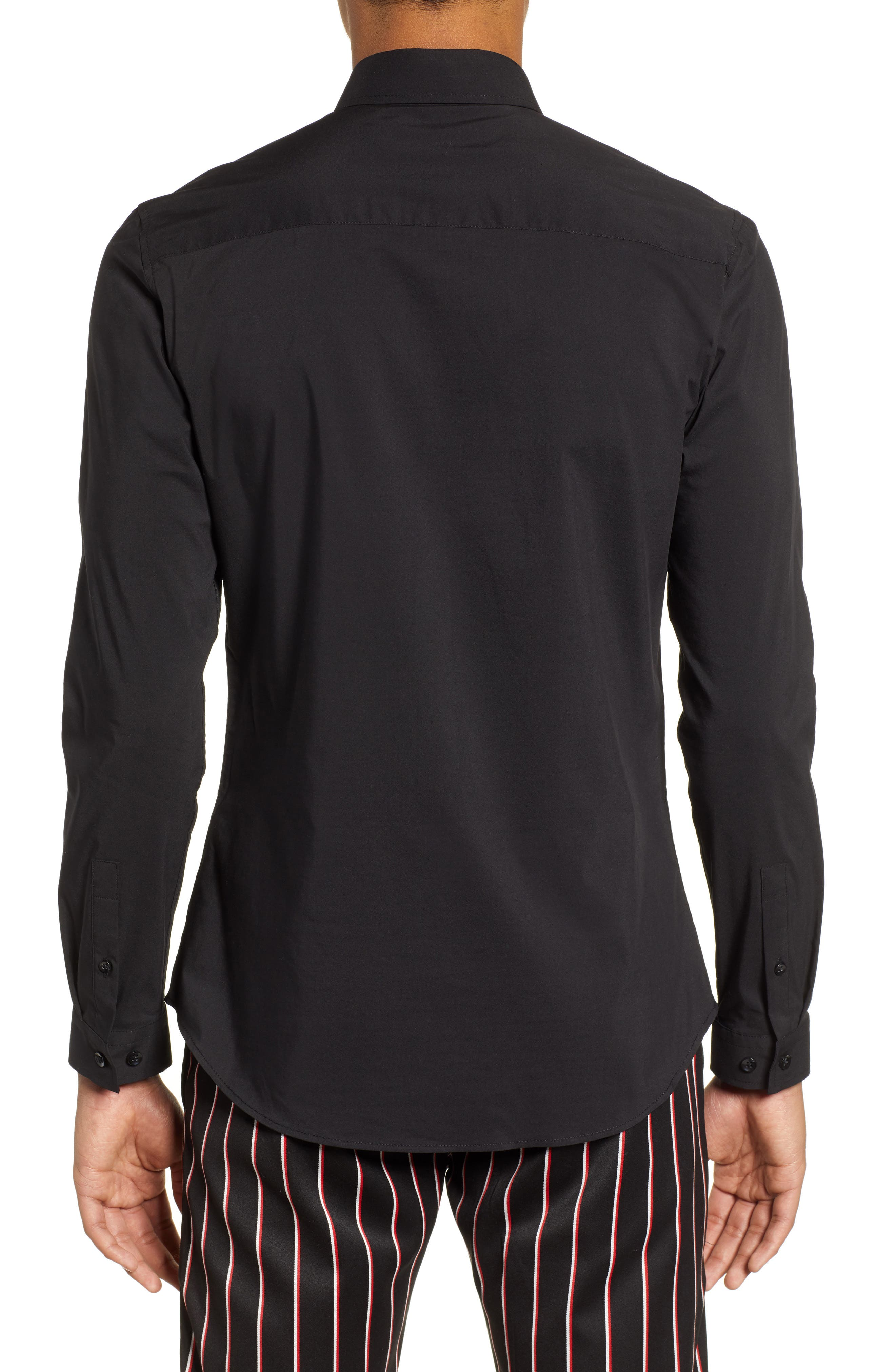 Stretch Woven Shirt,                             Alternate thumbnail 3, color,                             BLACK