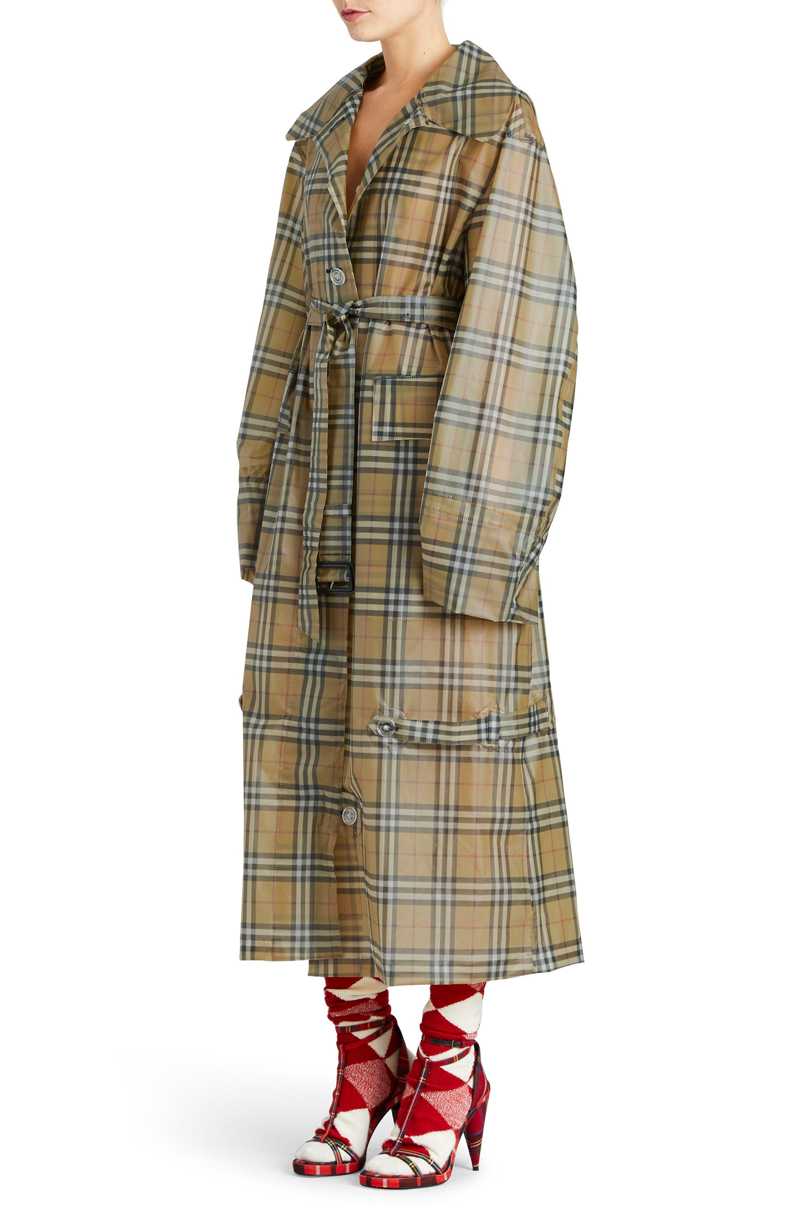 Vintage Check Plastic Trench Coat,                             Alternate thumbnail 3, color,                             704