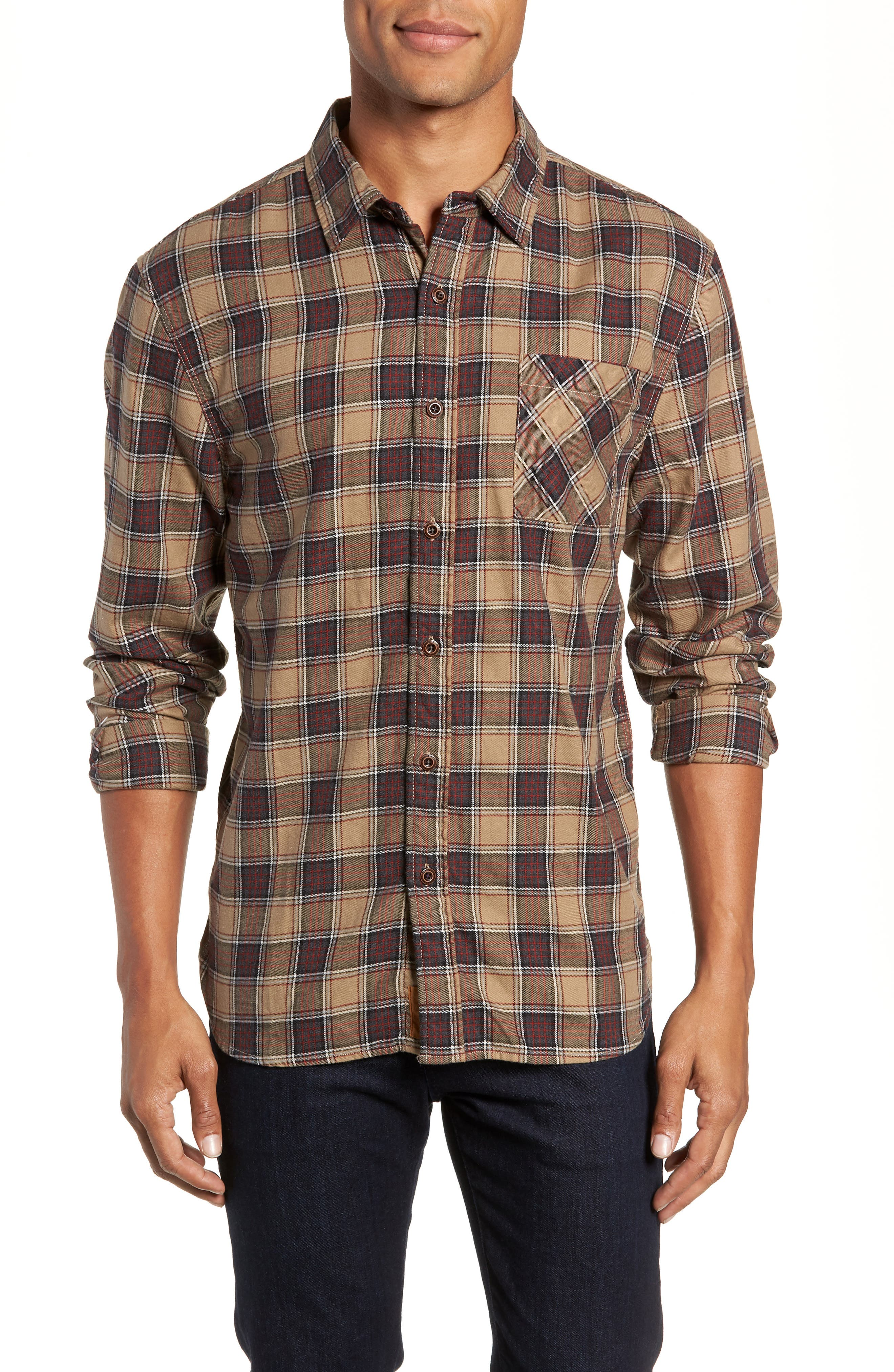 Truman Check Sport Shirt,                         Main,                         color, GREY/ GOLD/ RED