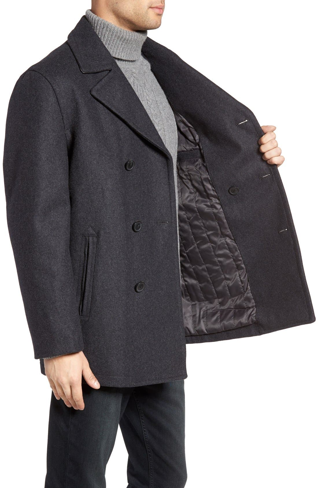 Wool Blend Double Breasted Peacoat,                             Alternate thumbnail 55, color,